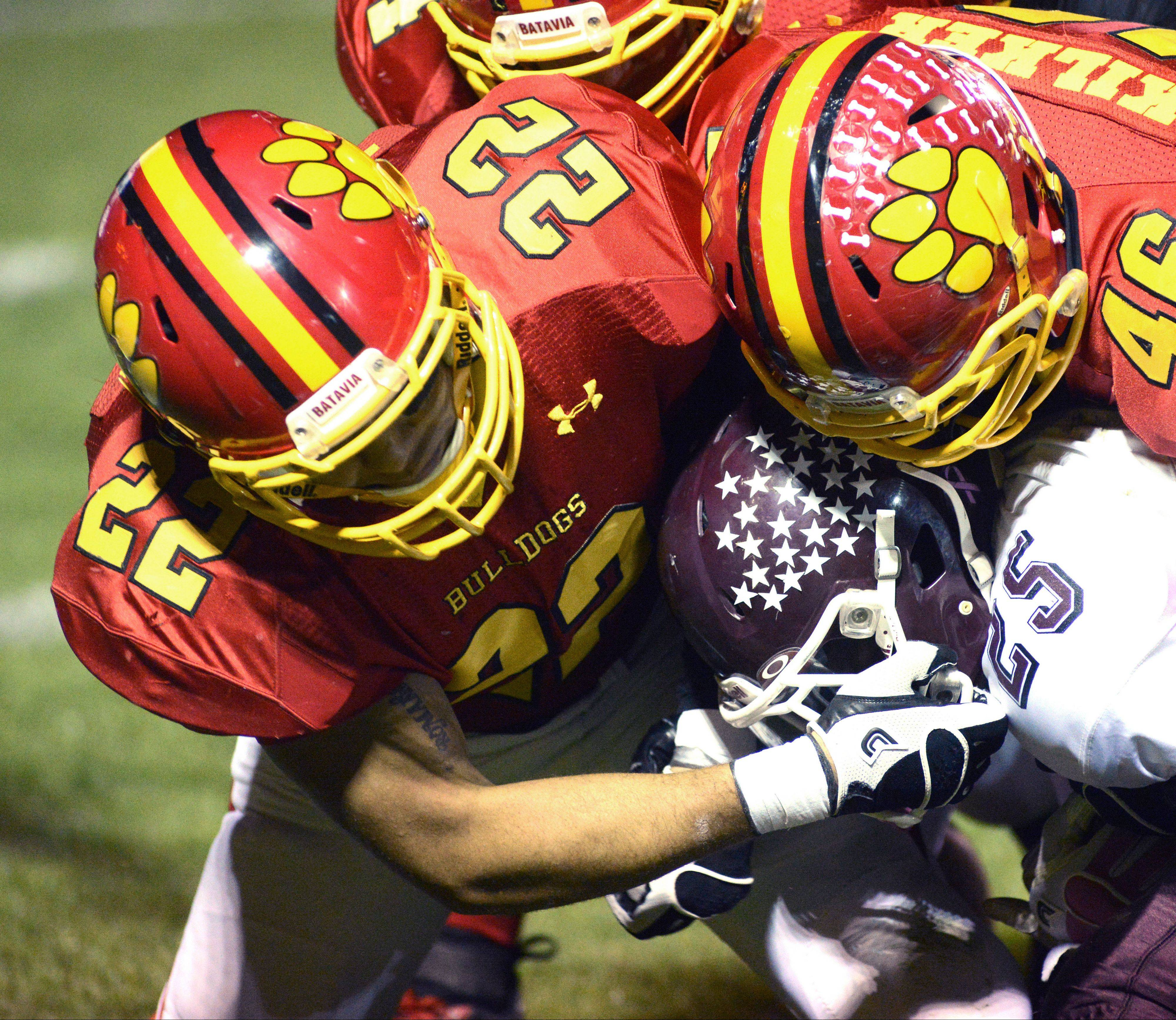 Like Michael Moffatt pictured below, Anthony Thielk (22) is a three-year starter on a Batavia defense that is playing as well as any defense in the state according to Bulldogs coach Dennis Piron.