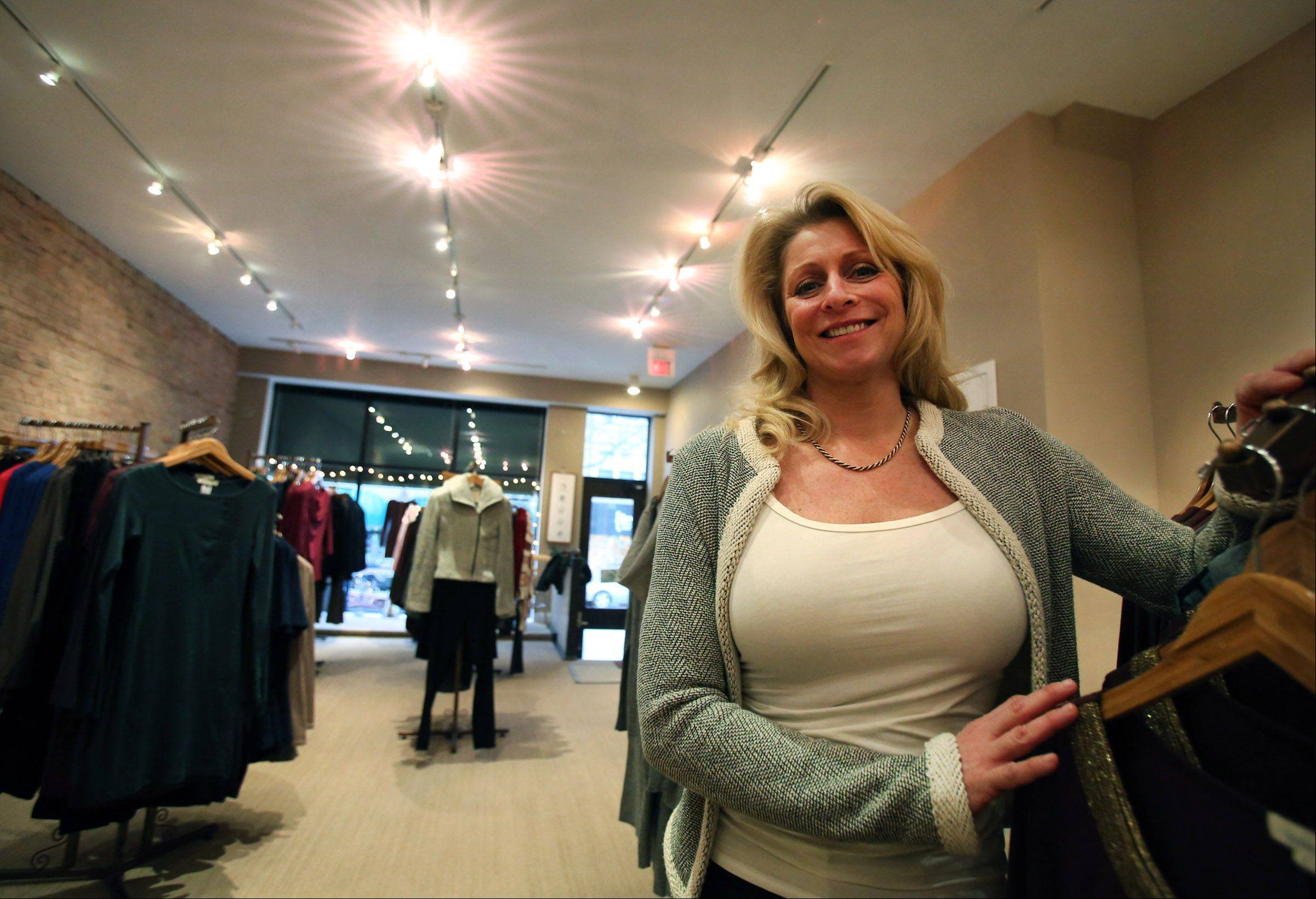 Jennifer Vanacora, owner of Eco Diva Clothing, at her store in Arlington Heights.