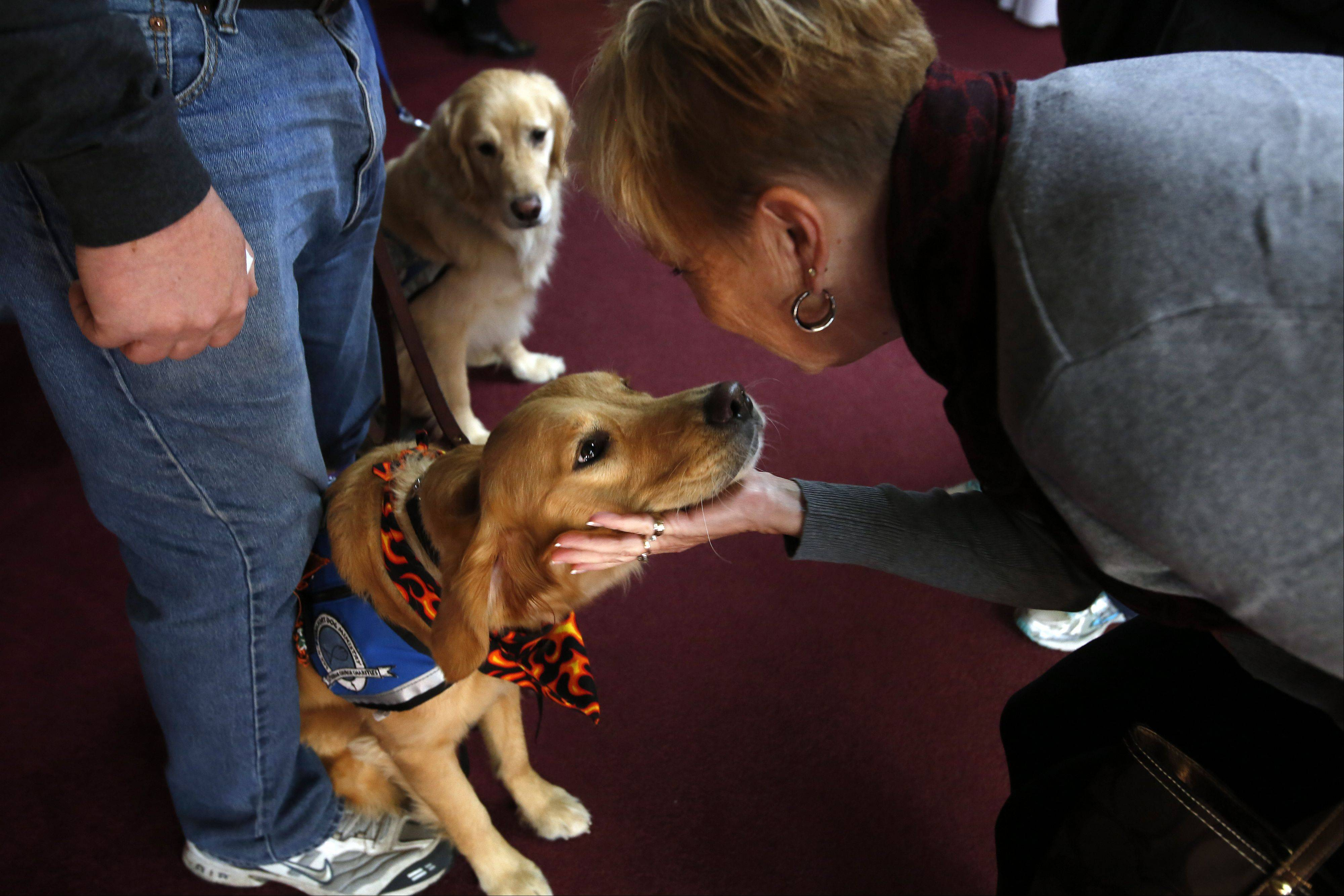 Kim Wiseman greets comfort dog Susie of Arlington Heights outside a church service in Washington, Ill., this week. Wiseman's sister-in-law, who lost her house in the disaster, will be staying with her throughout the holidays.
