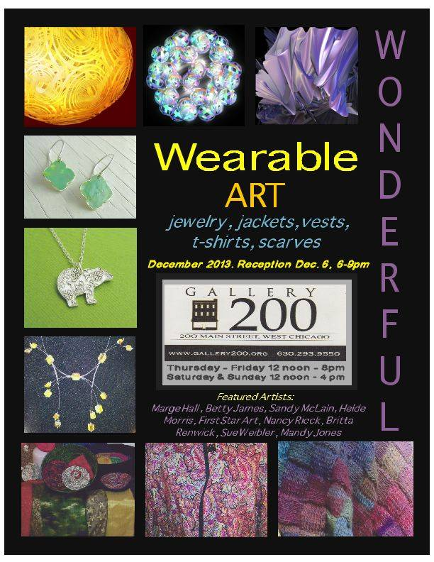 An event poster for the Wonderful & Wearable event at Gallery 200 contains images of some of the unique articles for sale beginning in December and running all month-long.