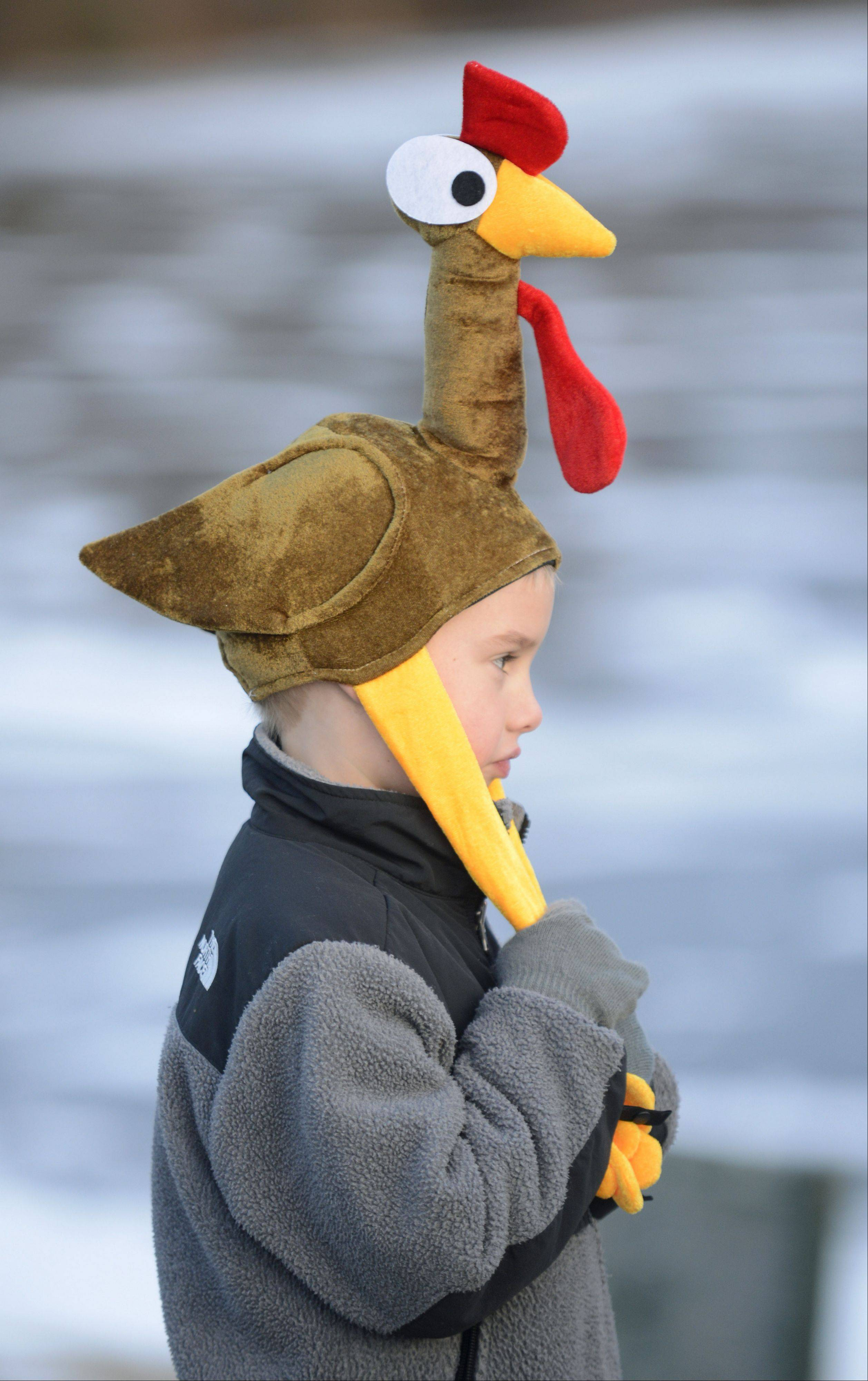 Jackson Fuhrmann, 6, of Geneva, donned a turkey hat to run in the Youth Mile in the annual Fox and Turkey Races Thanksgiving Day in Batavia. He and his mother, Jennifer, have been participating in the races the past three years.