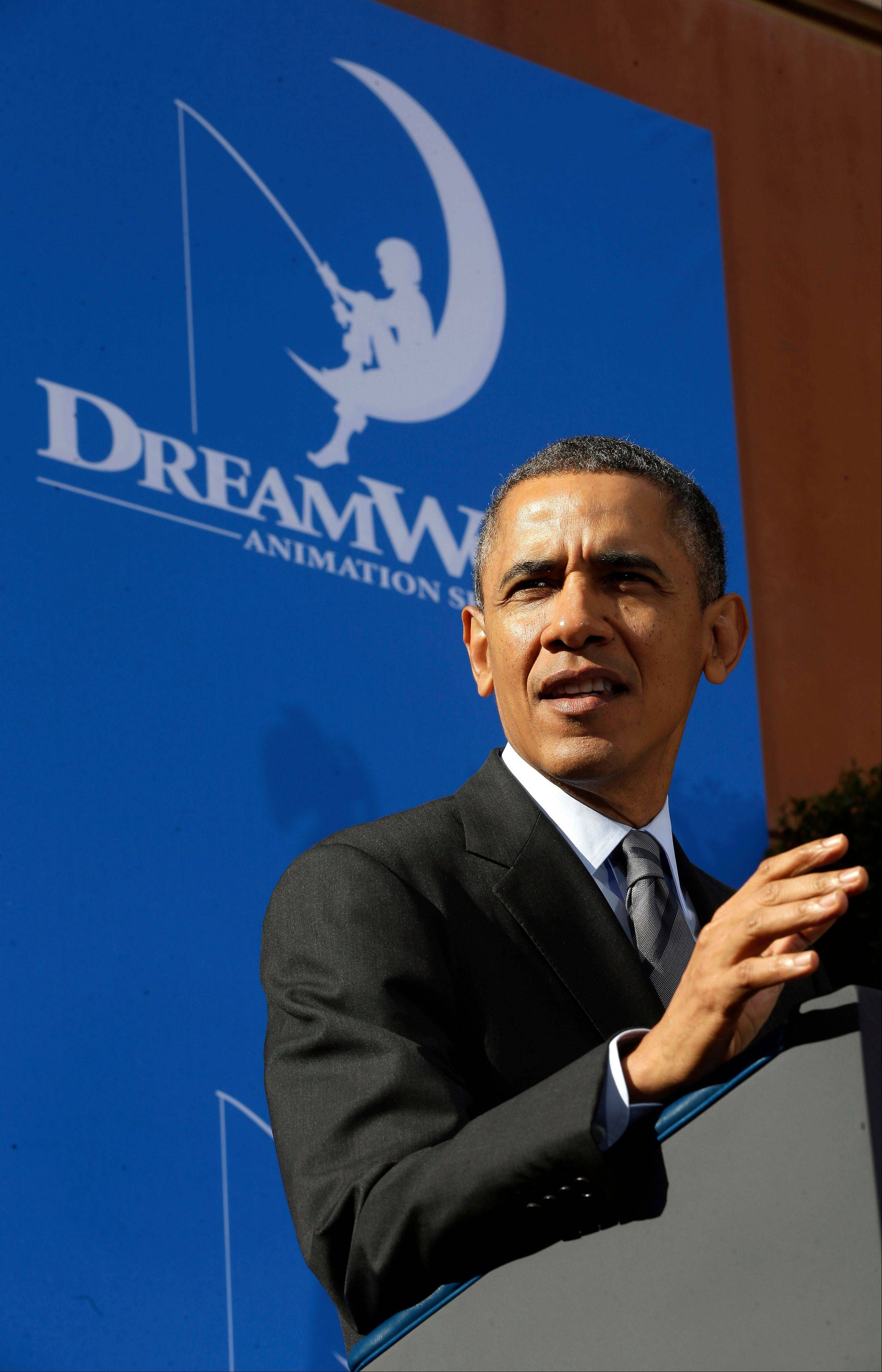 President Barack Obama speaks during his visit Tuesday to DreamWorks Studios in Glendale, Calif.