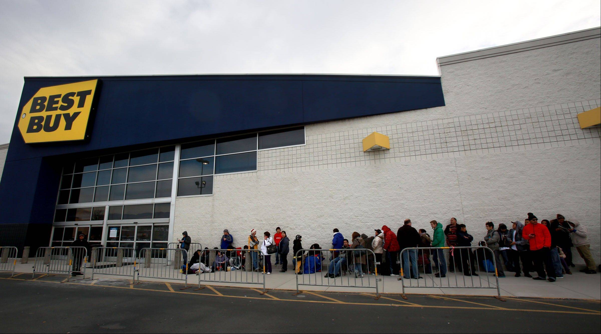 Shoppers line up in front of Best Buy for Thanksgiving Day sales in Salt Lake City, Utah. More recently, marketers have developed increasingly sophisticated ways to combine offline and online data that creates detailed profiles of shoppers.