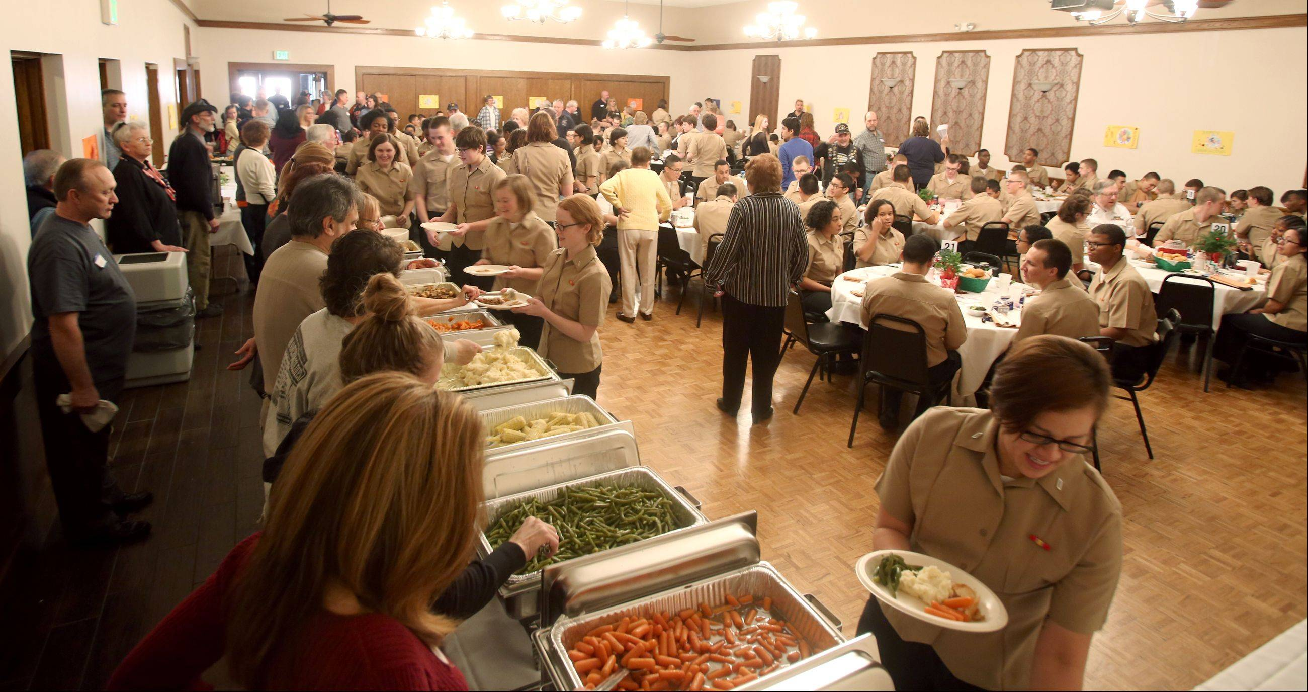 The Villa Park VFW Post 2801 hosted Thanksgiving for 165 recruits from the Great Lakes Naval Station.