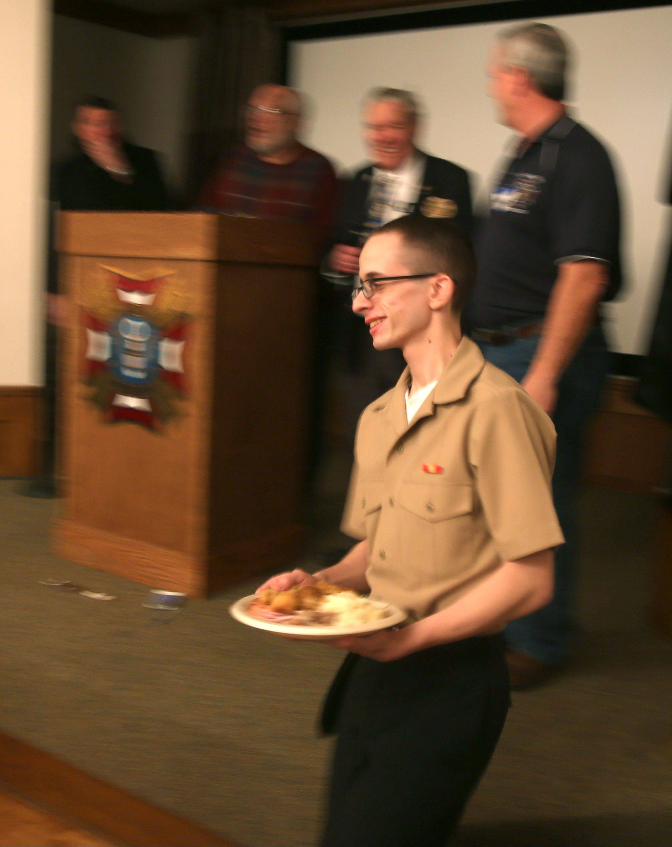 The Villa Park VFW Post 2801 hosted Thanksgiving for recruits from Great Lakes Naval Station. Tradition at the post is that the last cadet off the bus, is the first to be served Thanksgiving dinner. Adam Espinoza of Lancaster, California is the first cadet served.