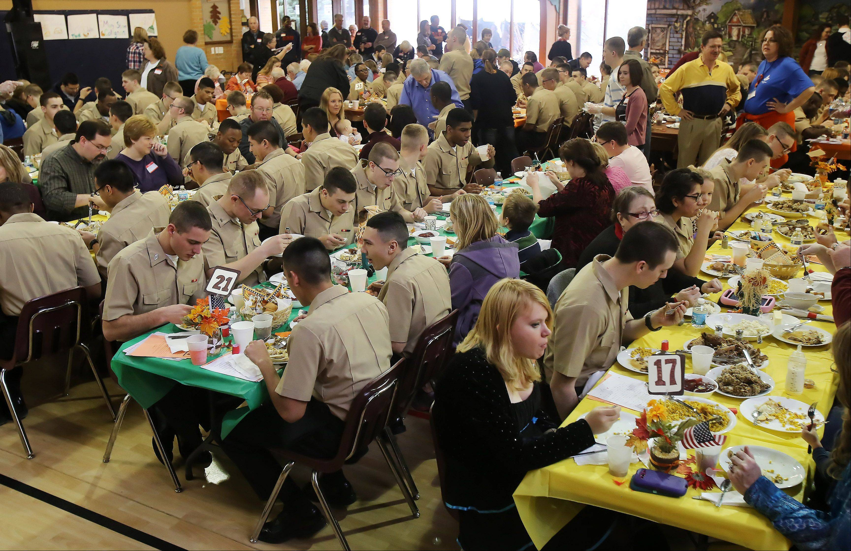 The annual free Thanksgiving dinner offered by the Gurnee Community Church for recruits and residents of the community on Thursday.