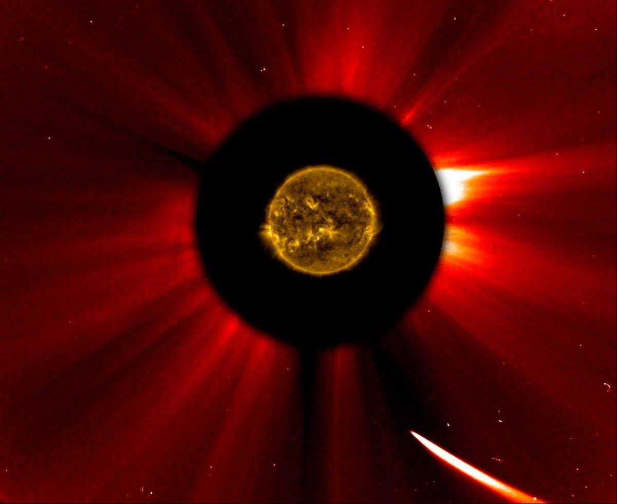 In a composite image provided by NASA, Comet ISON nears the sun in an image captured at 9:51 a.m. on Thursday. The sun was imaged by NASA's Solar Dynamics Observatory, and an image from ESA/NASA's Solar and Heliospheric Observatory shows the solar atmosphere, the corona. Scientists are studying spacecraft images to find out whether a small part ISON survived its close encounter with the sun.