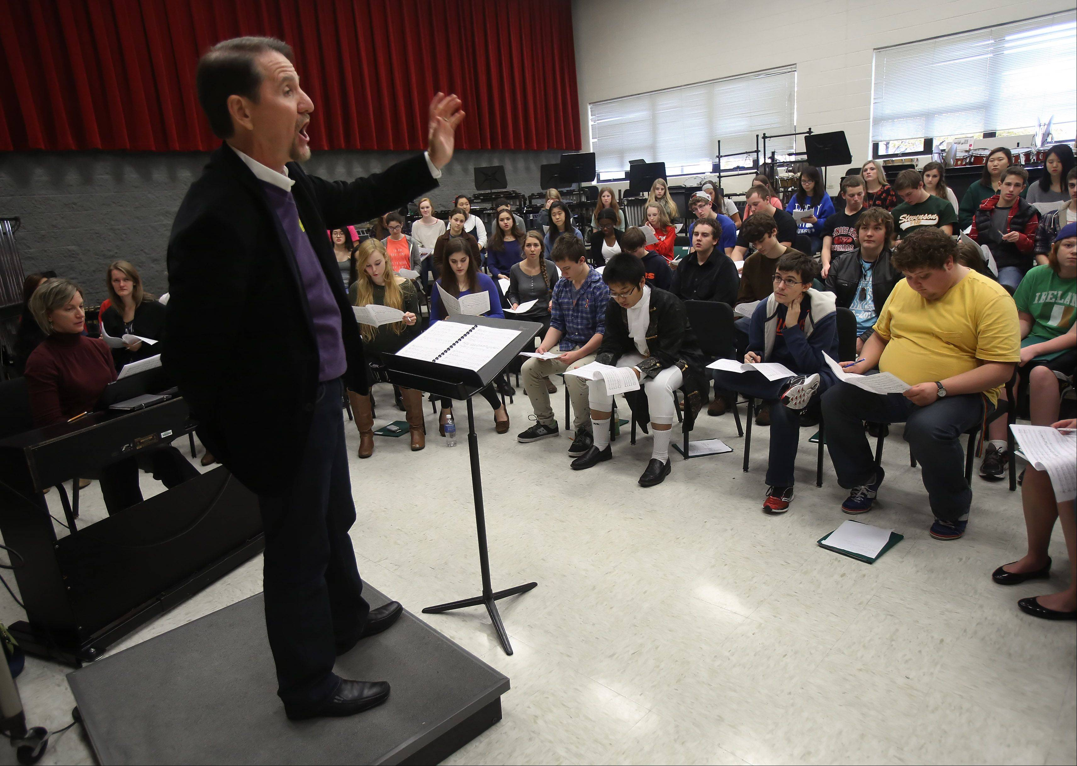 The band room in Stevenson High School�s west building could be renovated as part of a $9.7 million project being considered for summer 2014. Here, Emmy Award-winning Chicago composer Gary Fry works with students during a recent visit.