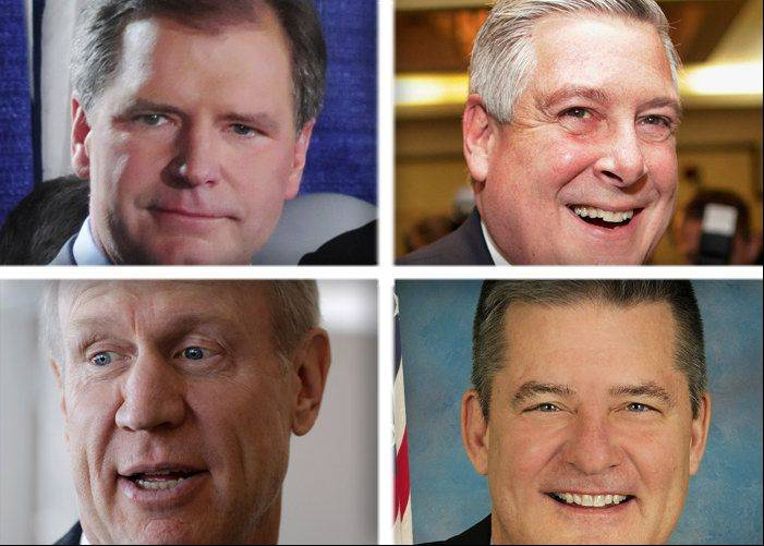 Clockwise from top left, Bill Brady, Kirk Dillard, Dan Rutherford and Bruce Rauner are seeking the Republican nomination for governor in 2014.