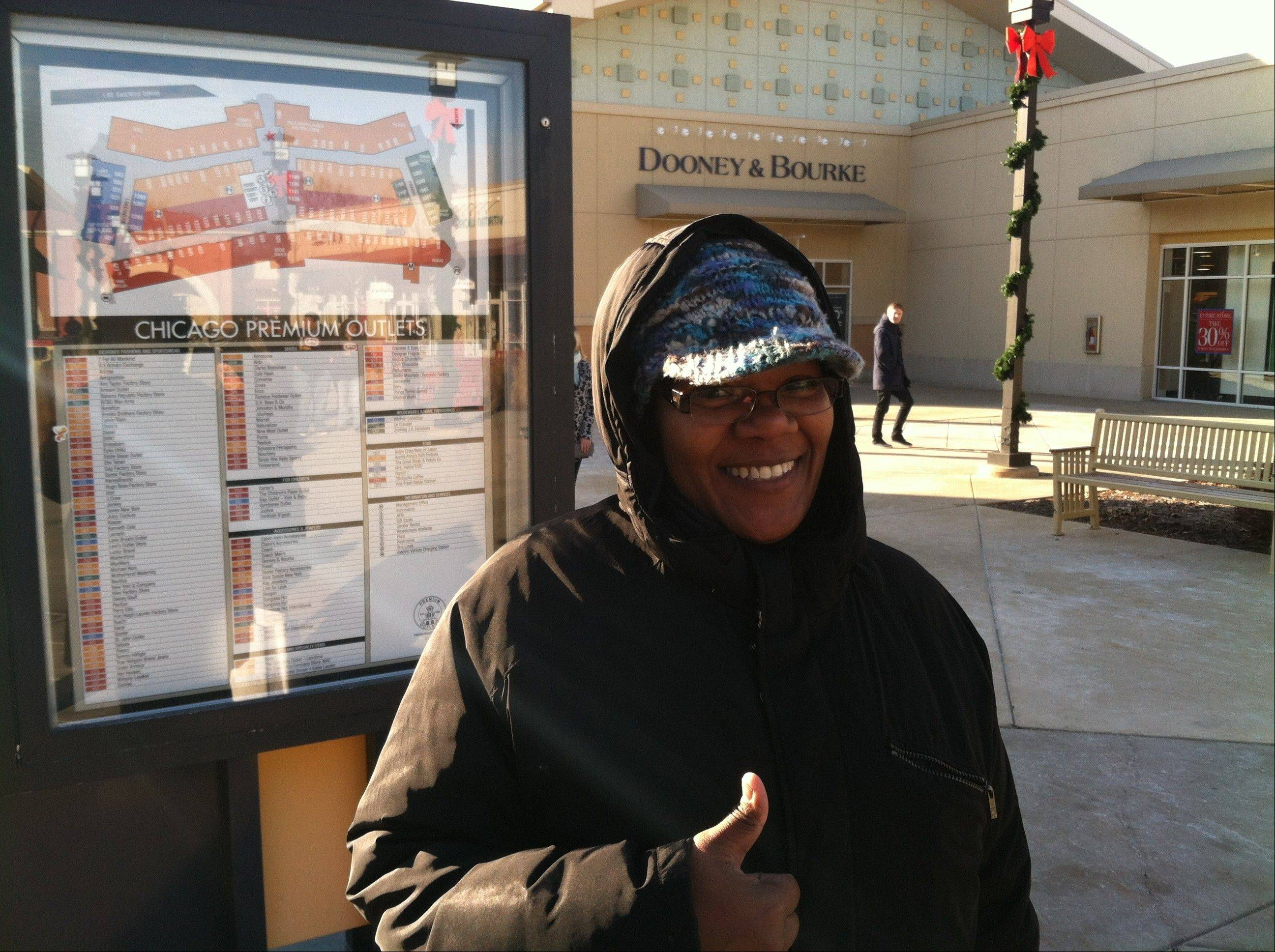 Lesia Banks of Algonquin strikes gold at Chicago Premium Outlets in Aurora on Black Friday.
