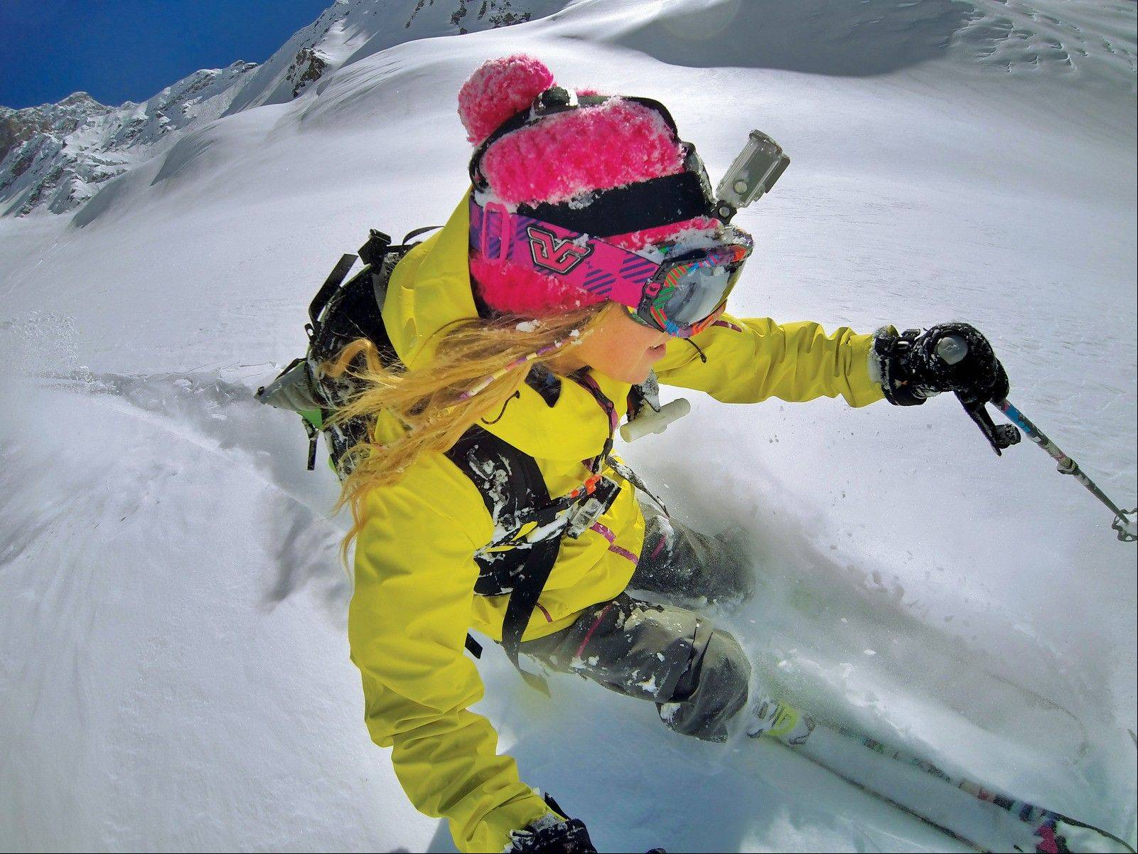 It's easy to attach a helmet cam, like the GoPro digital camera, to a ski helmet.