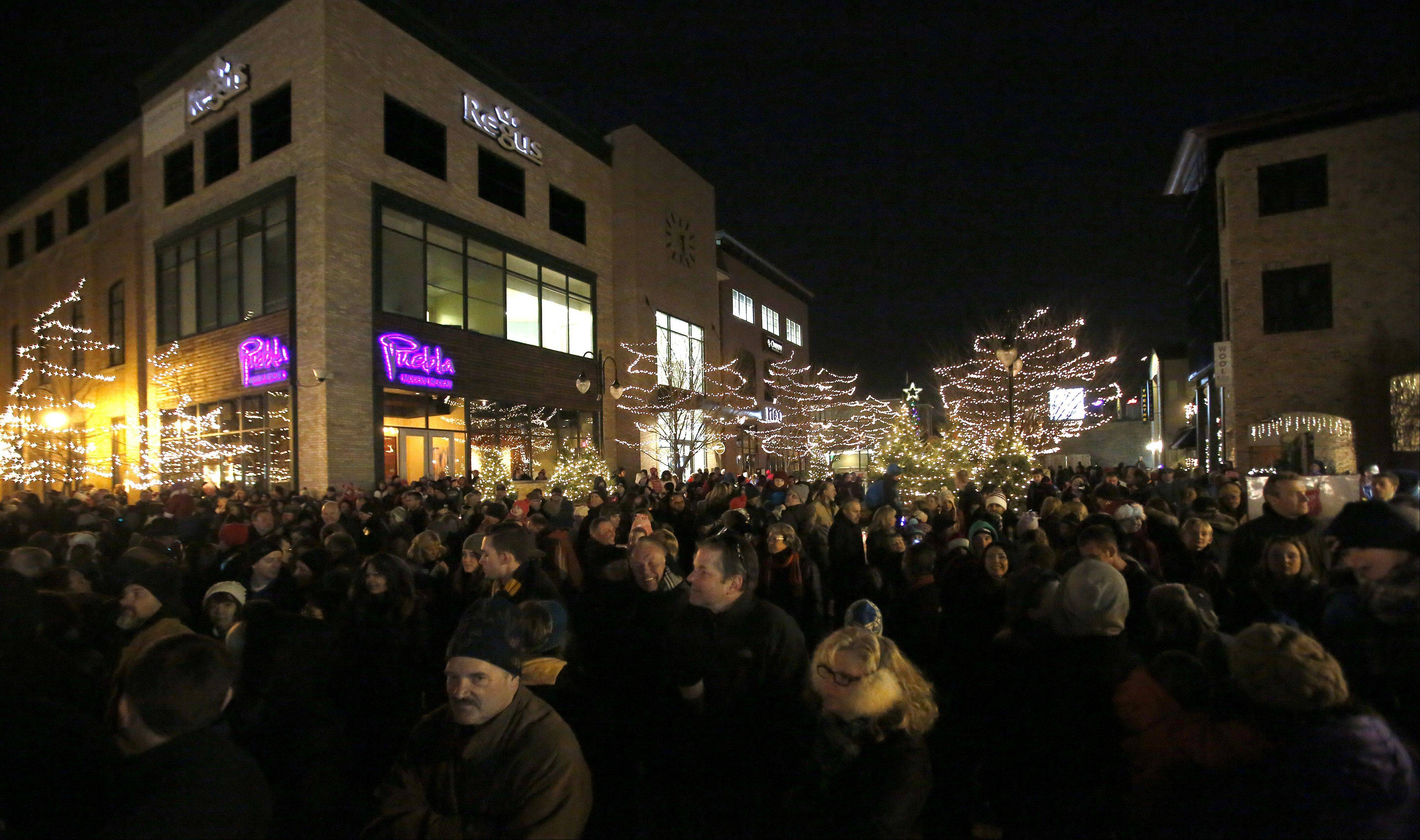 The lights shine brightly after the tree-lighting ceremony Friday at First Street Plaza in St. Charles.