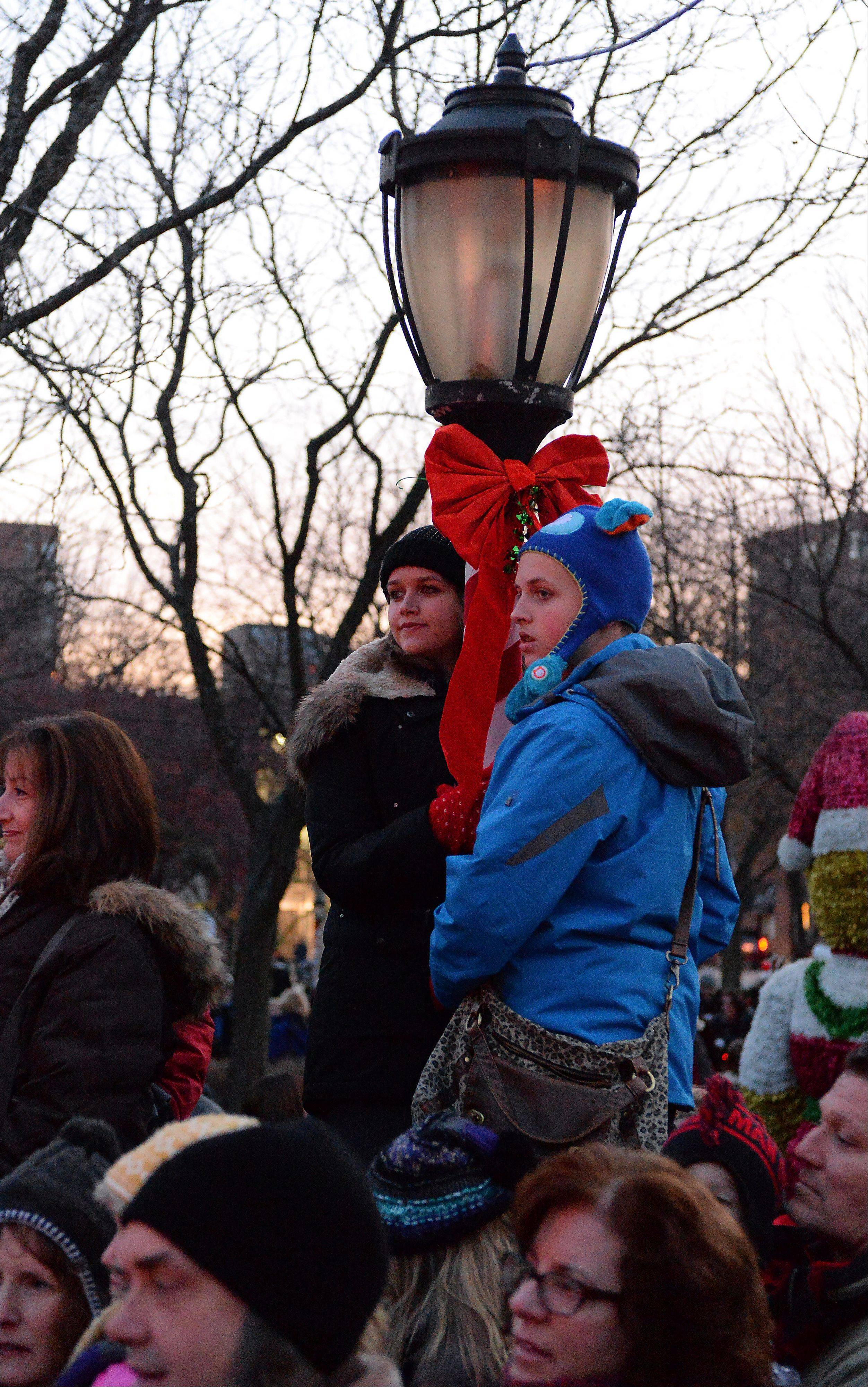 Madeleine Brown, 18, and her brother Theo, 13, of Arlington Heights get above the massive crowd at Friday night's annual tree-lighting ceremony in Arlington Heights.