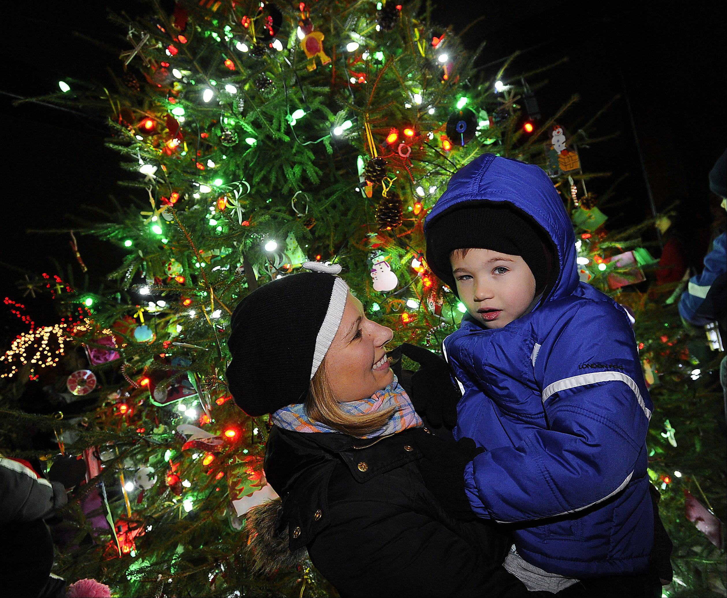 Agata Opoka of Schaumburg and her son Filip, 4, celebrate the holidays with a little illumination on Friday night in Schaumburg.
