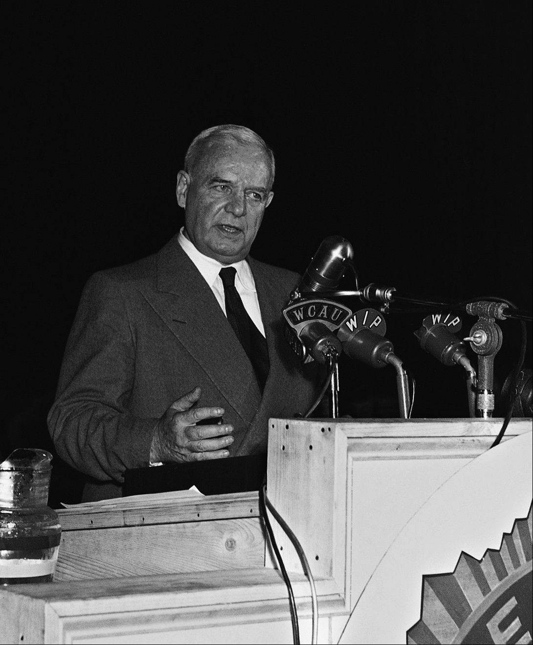 "Gen. William ""Wild Bill"" Donovan, wartime head of the Office of Strategic Services, addresses delegates to the American Legion Convention in Philadelphia."