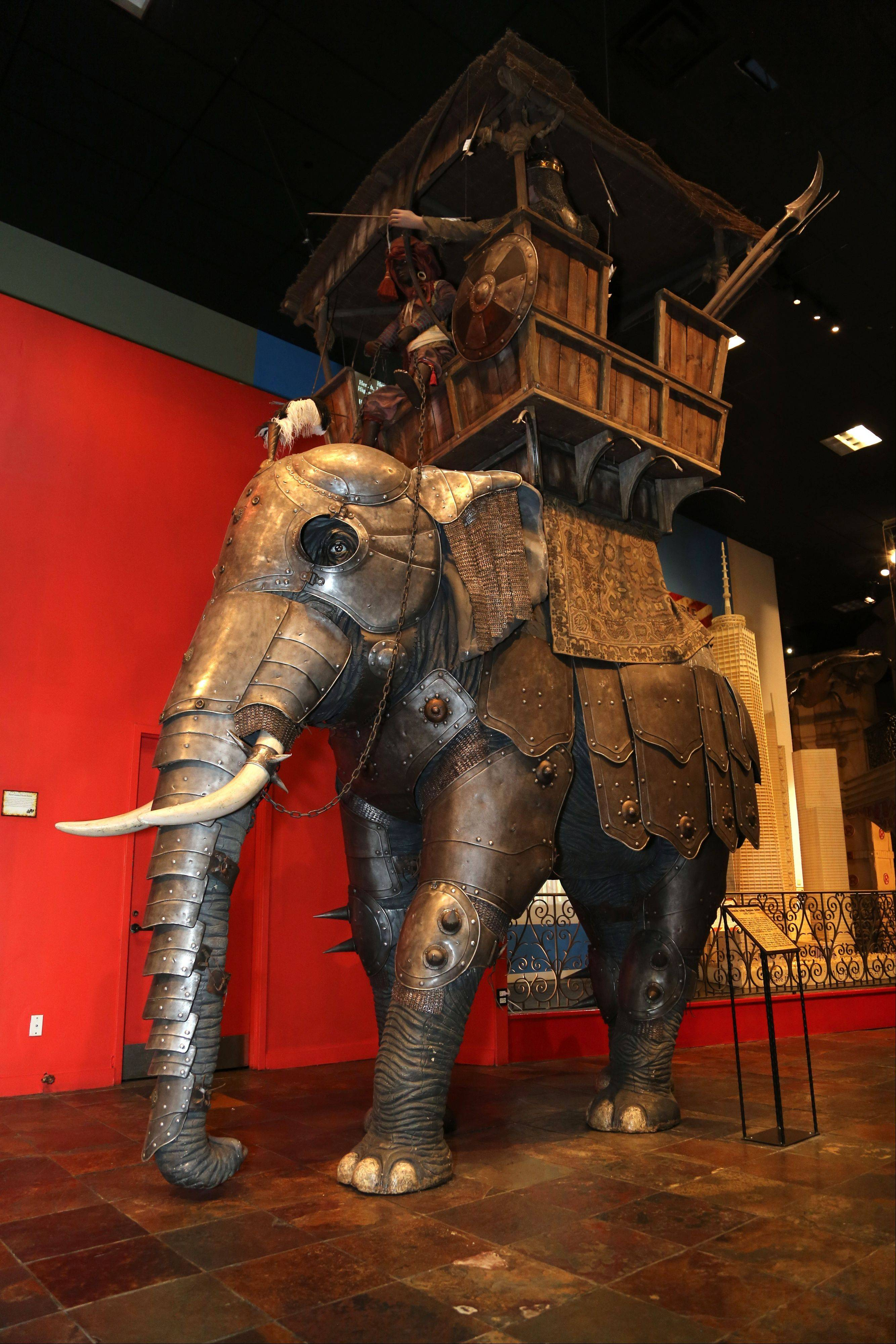 An 18th century, iron-clad elephant armor from India at Ripley's Times Square Odditorium in New York.