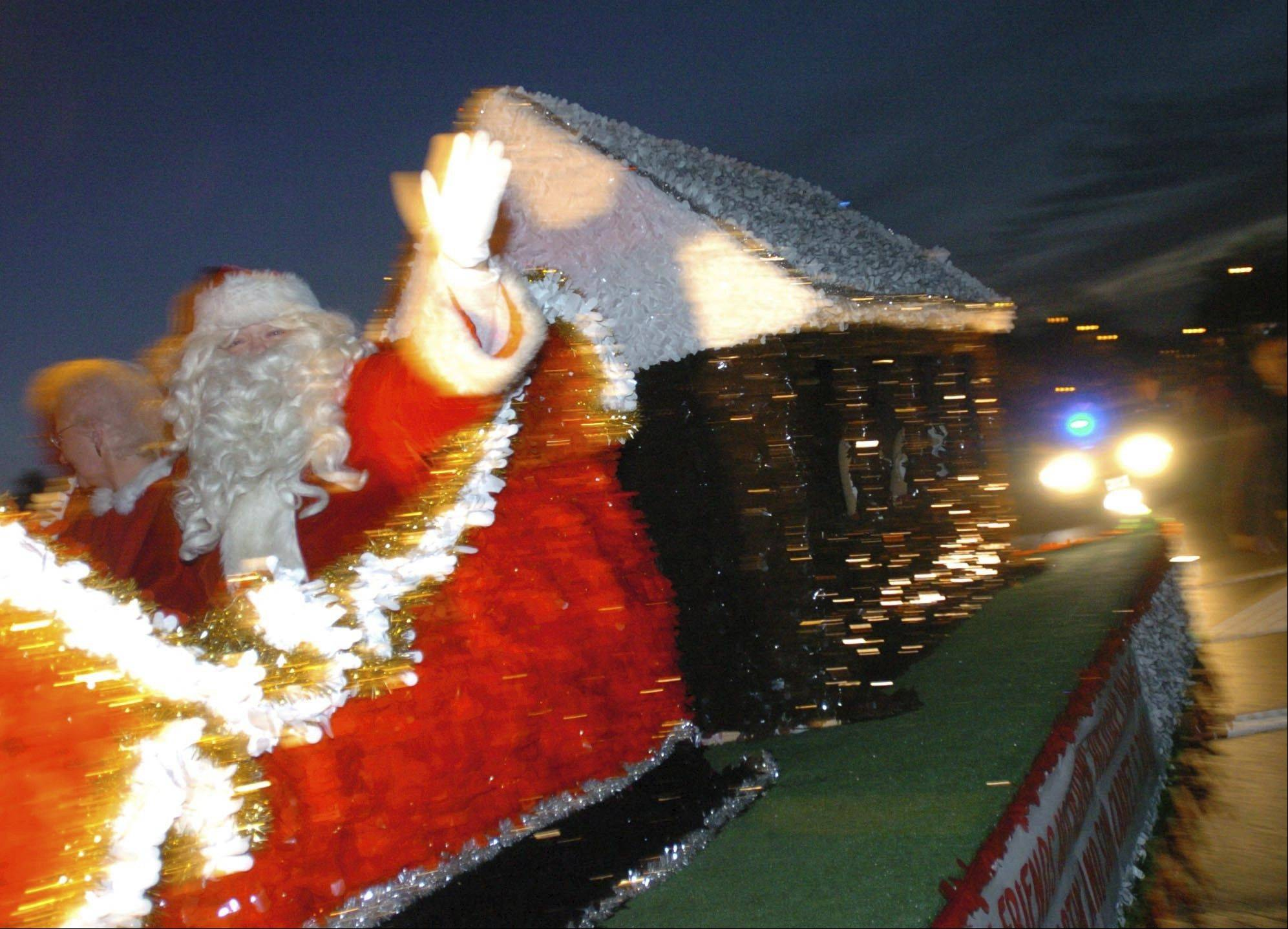 Santa will be the main attraction at the end of the Little Friends Parade of Lights on Sunday in downtown Naperville. The parade begins at 5 p.m. at Main and Water streets, where it walks north on Main, then west on Van Buren Avenue before turning north on Eagle Street and ending at Naper Elementary School.