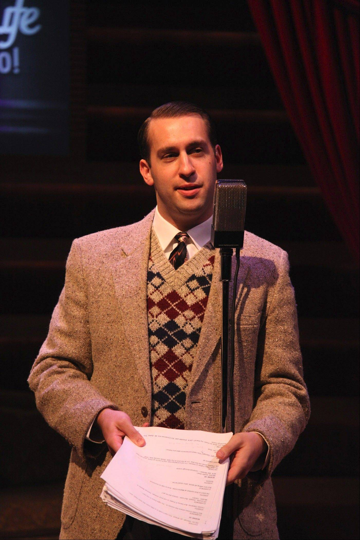 "Photo by Johnny KnightIan Paul Custer plays Harry Bailey, and other roles in American Blues Theater's 12th annual radio play version of ""It's A Wonderful Life: Live in Chicago!"""