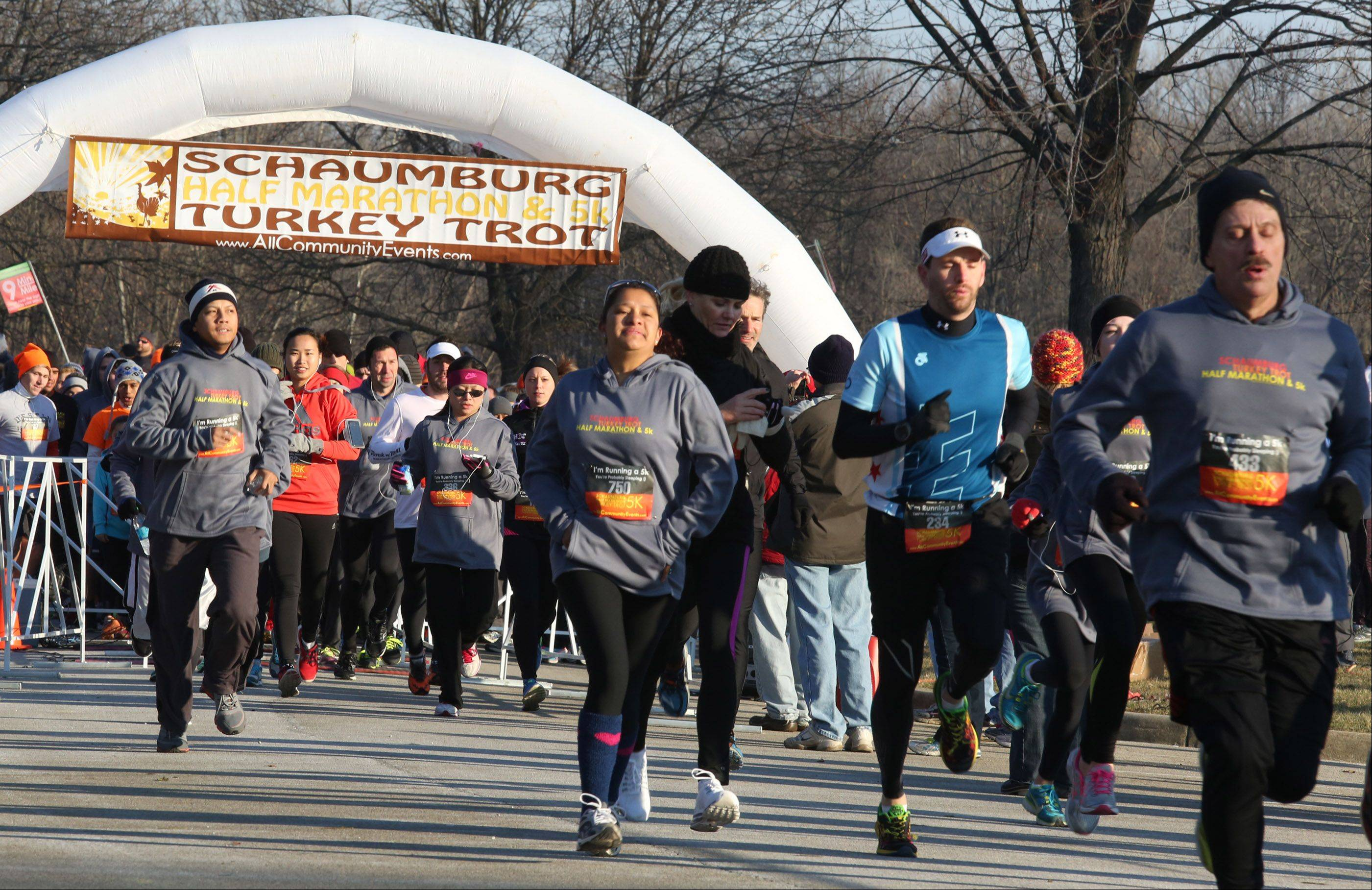 About 300 runners were at the starting line for the Schaumburg 5K Turkey Trot on Saturday in the Busse Woods Forest Preserve near Schaumburg. The half marathon started about 45 minutes later.