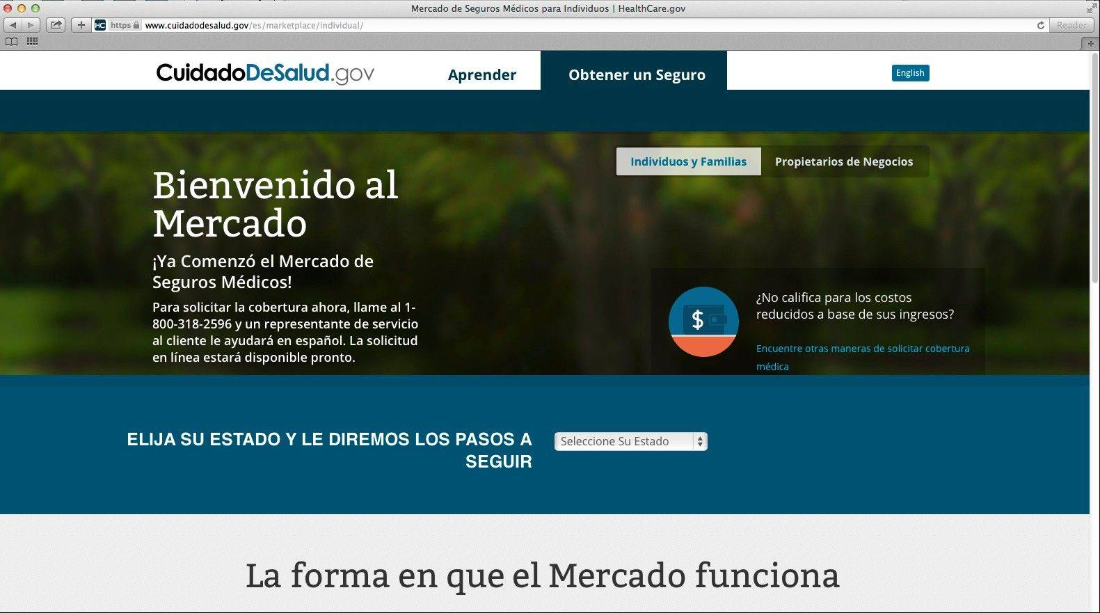 This screenshot made Tuesday, shows the U.S. Department of Health and Human Services' Web page for the Spanish language version HealthCare.gov. The Spanish version of HealthCare.gov now provides basic information, but still doesn't allow users to apply for insurance coverage online.