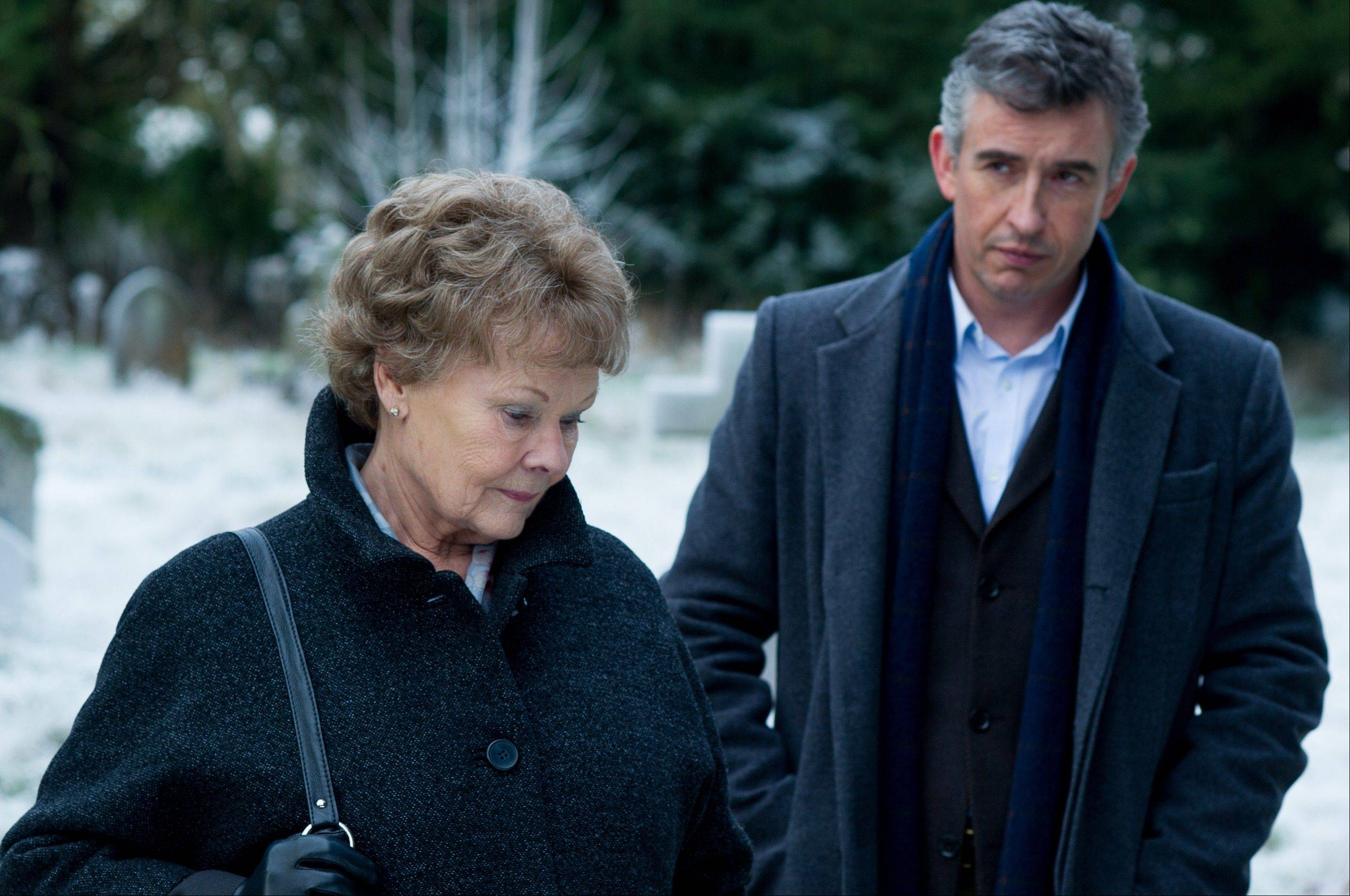 Judi Dench, left, and Steve Coogan in �Philomena.� The British comic and Oscar-winning actress co-star in the film, which explores the benefits and costs of faith through the true story of Philomena Lee.