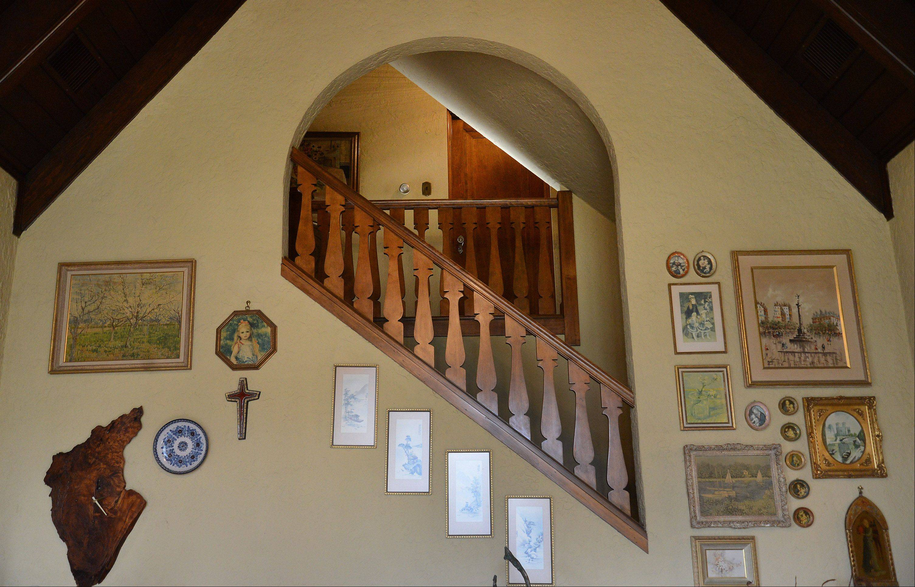Stairway going upstairs The Moats home, a 1928 Cotswold cottage, that will be featured on this year's Mount Prospect Holiday Housewalk..