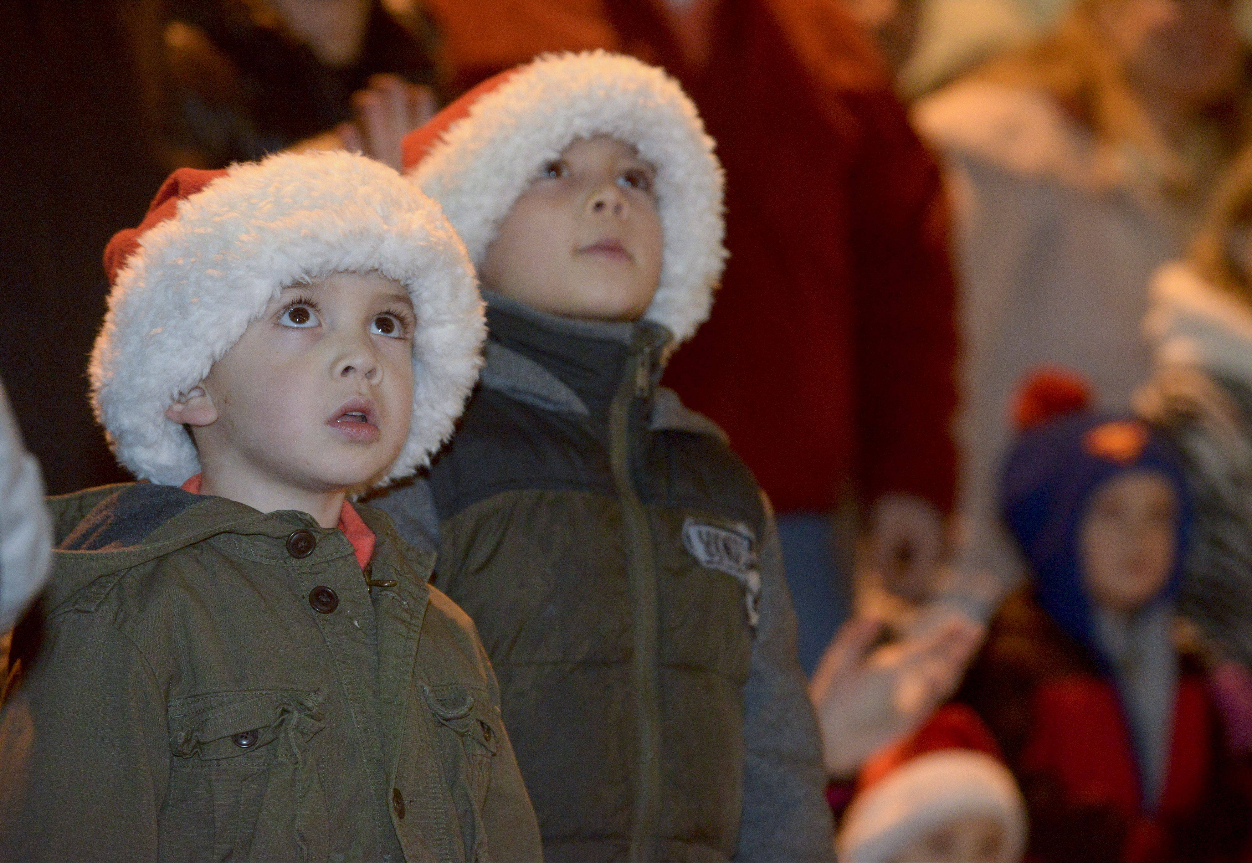 Connor Eilers, 4, and his brother Jacob, 6. of Naperville enjoy the Little Friends Parade of Lights Sunday in downtown Naperville.