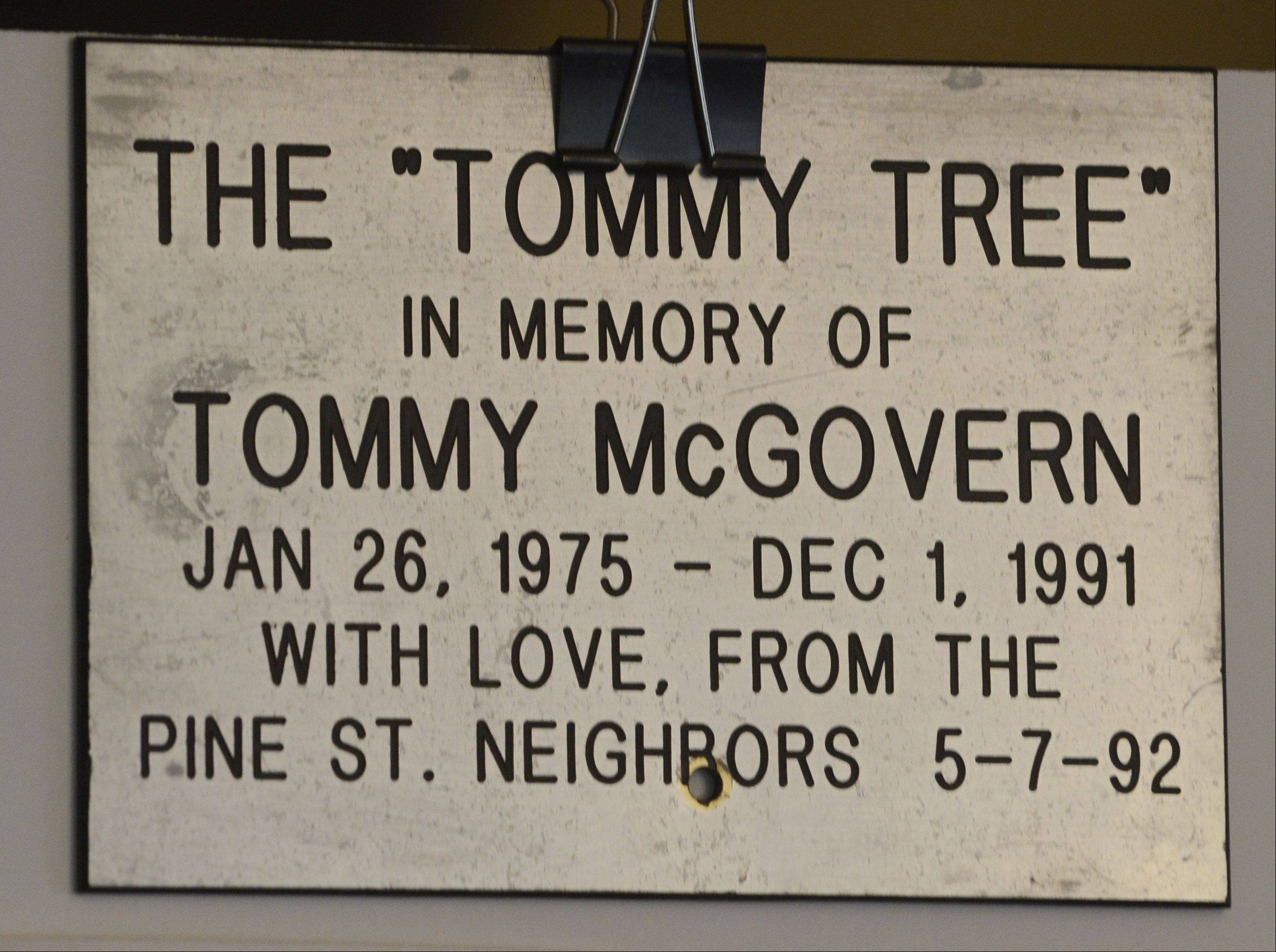 This plaque was placed beneath a tree in memory of Tommy McGovern. Now flush, full and tall, the tree will be lit for Christmas in a ceremony tonight that unites the already close-knit neighborhood in Mount Prospect.