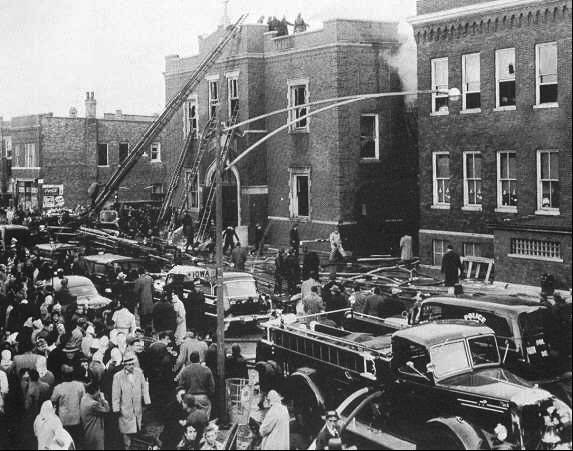Firefighters battle the Our Lady of the Angels fire on Dec. 1, 1958. The school, located in Chicago�s Humboldt Park neighborhood, lost 92 children and three nuns to the blaze.