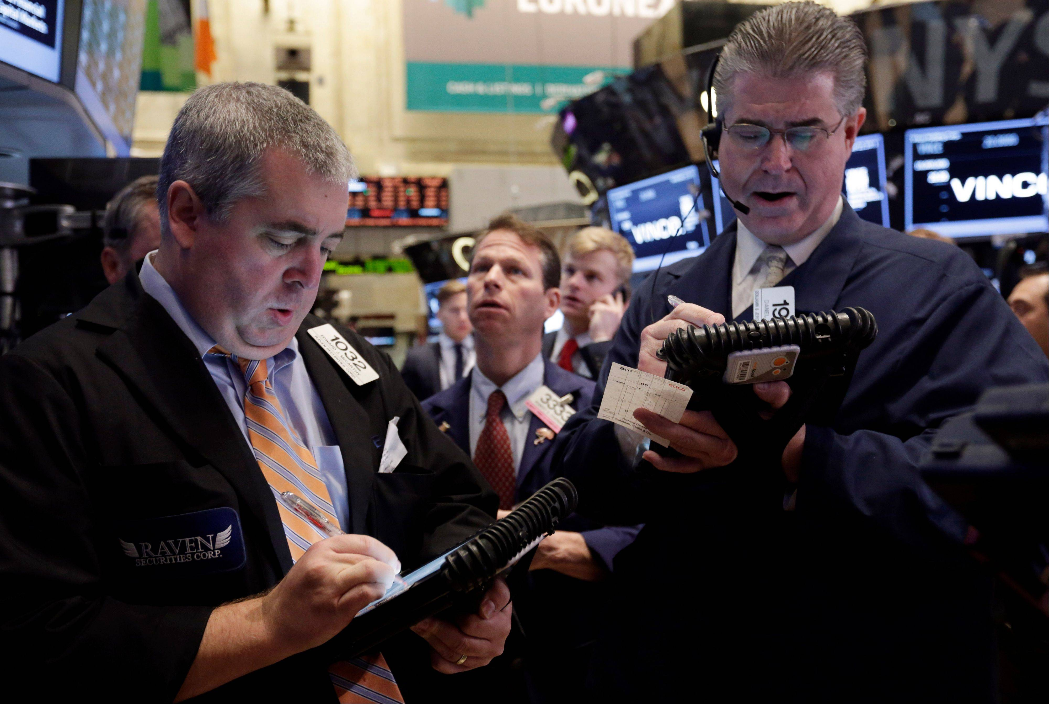 U.S. stocks fell Monday, with the Standard & Poor's 500 Index extending declines in the final hour of trading, amid data showed manufacturing unexpectedly climbed last month and reports on holiday retail sales.
