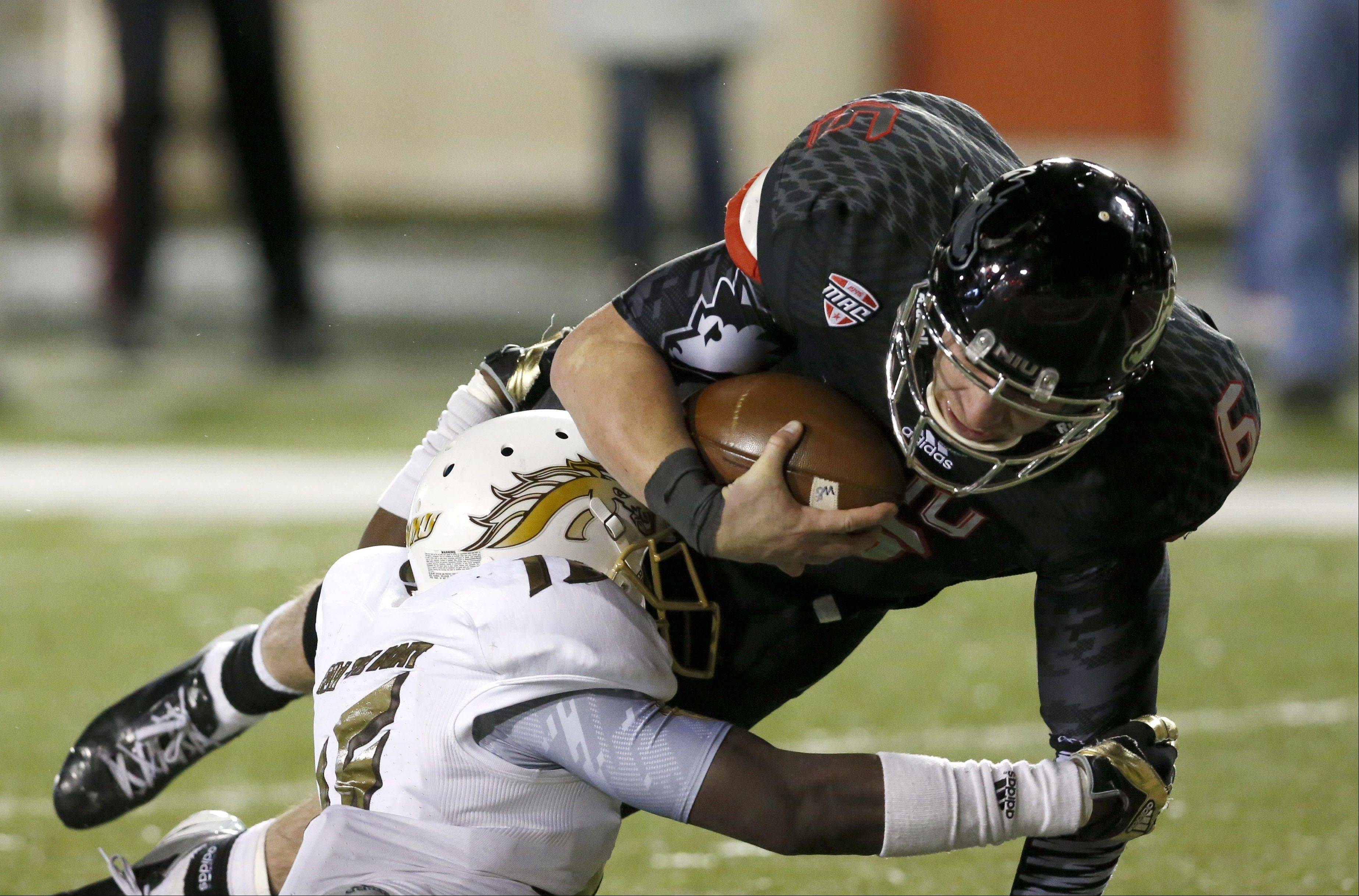 Northern Illinois quarterback Jordan Lynch, here scoring one of three rushing touchdowns he had over Western Michigan, earned his eighth MAC player of the week honor.
