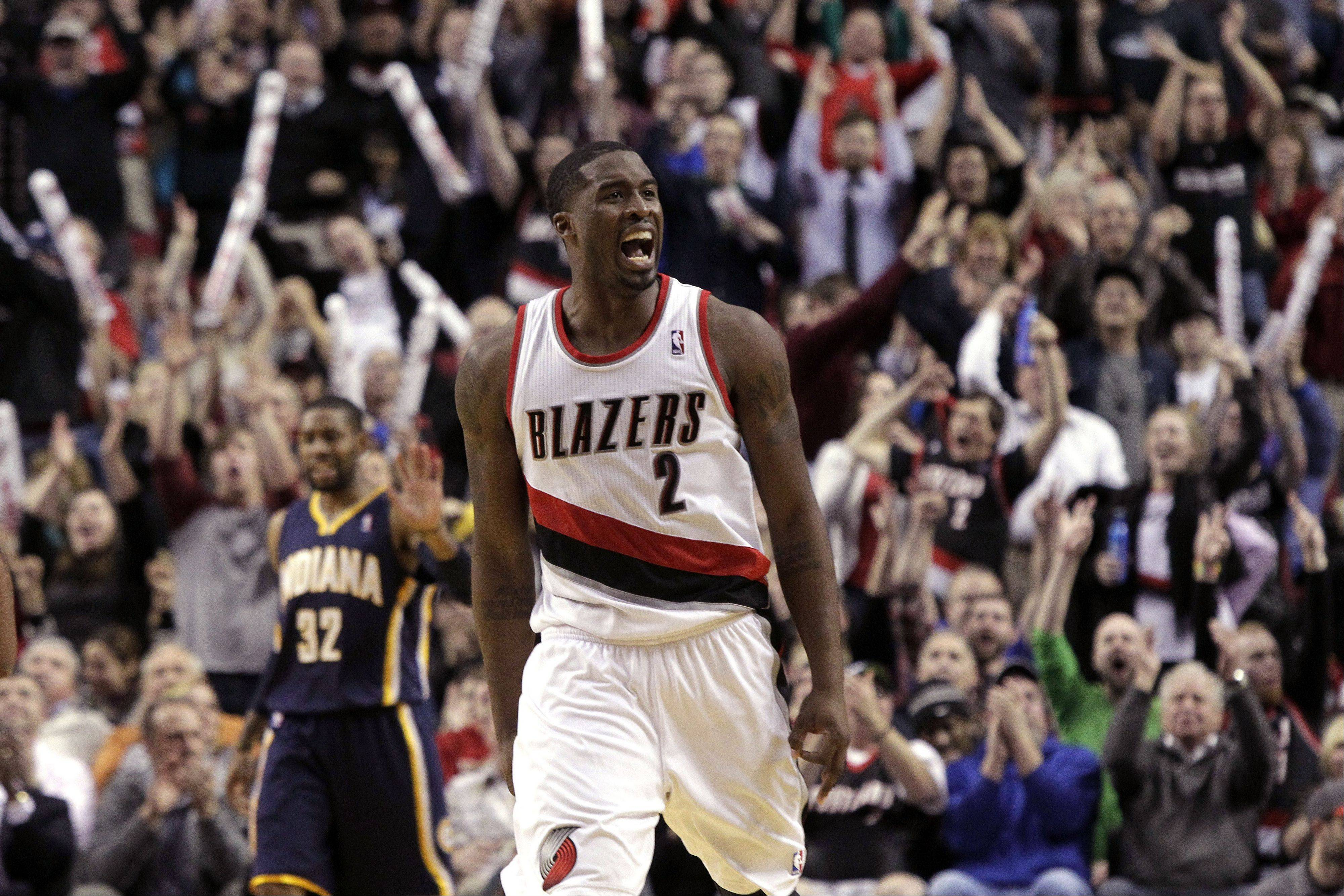 Portland Trail Blazers guard Wesley Matthews reacts after sinking a three-point shot during the second half of an NBA basketball game Monday against the Indiana Pacers in Portland, Ore. Matthews scored 15 points as the Trail Blazers won 106-102.