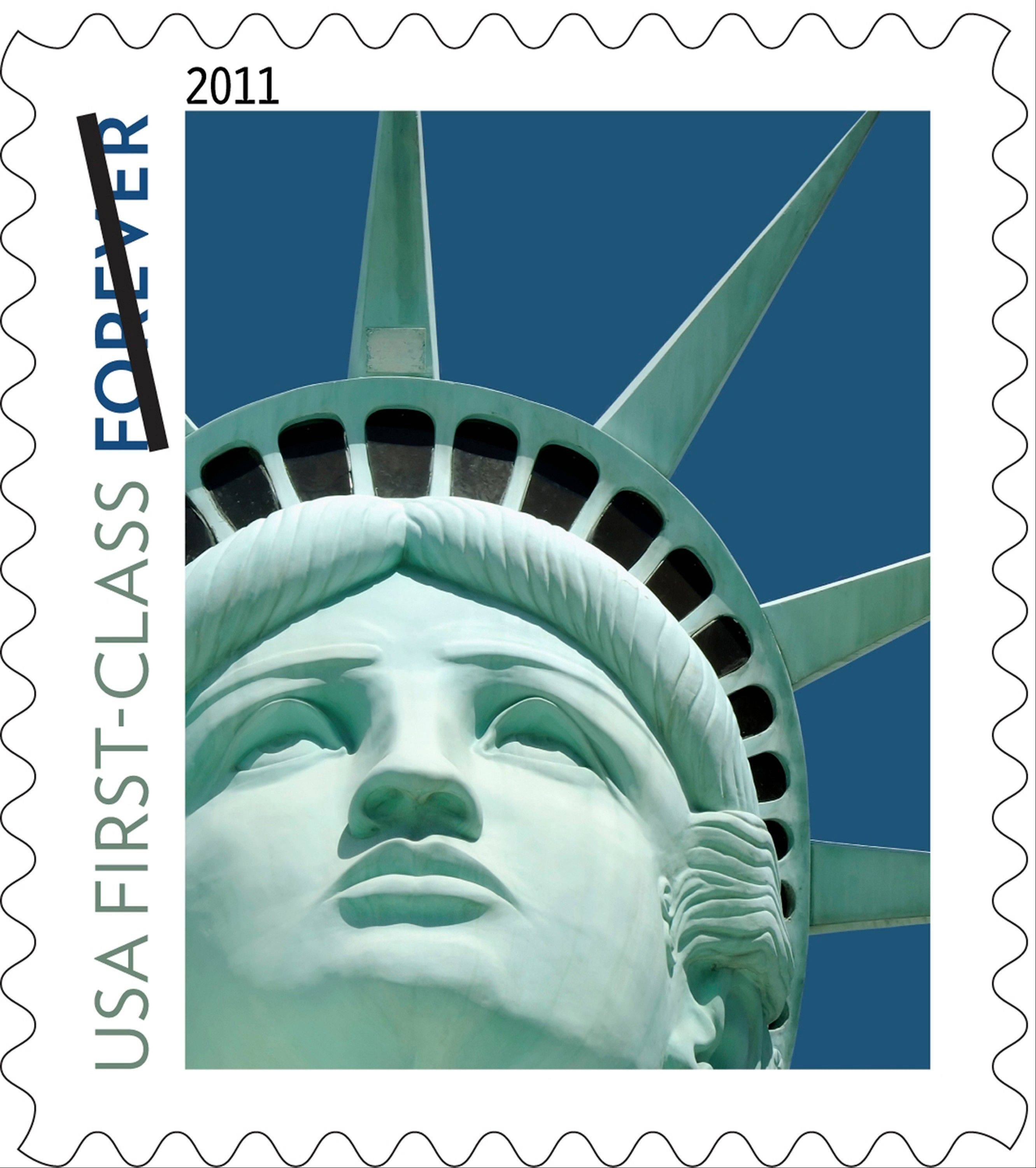 This undated file handout image provided by the U.S. Postal Service shows the Lady Liberty first class postage stamp first issued in 2011. The design released in 2011 was not based on the statue in New York Harbor, as intended, but on a replica outside the New York-New York casino hotel in Las Vegas.