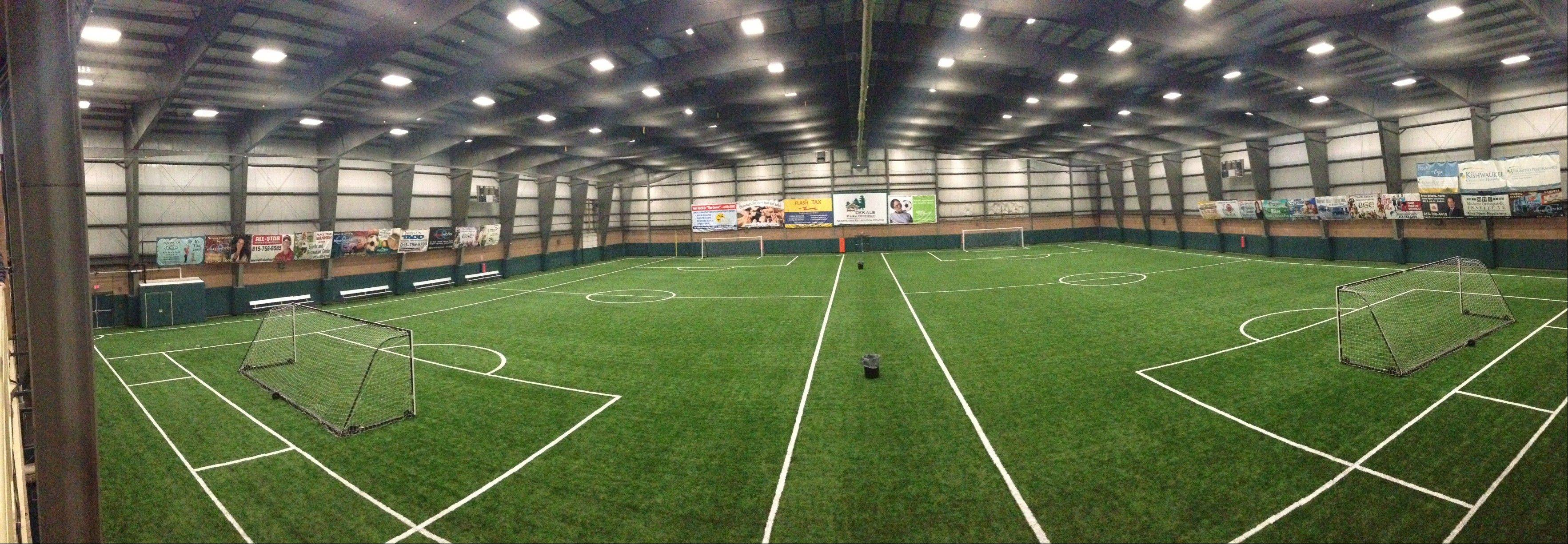 This photo of DeKalb Park District's indoor, artificial turf facility illustrates what Huntley Park District would like to build, if voters approve the referendum question on the March ballot.
