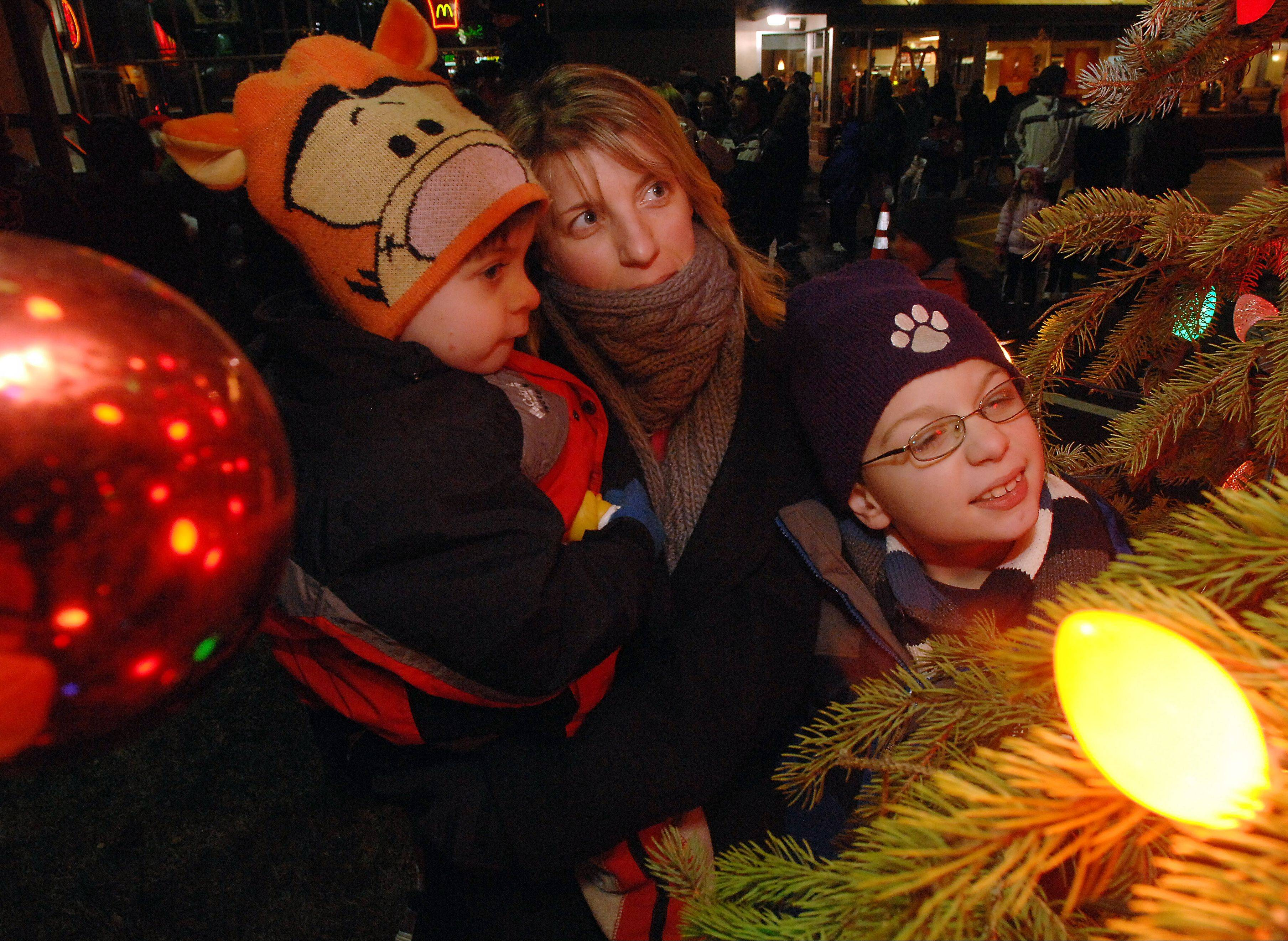 Rolling Meadows resident Joann Grasse spends the holiday with her sons Kyle, 3, and Nicholas, 8, soaking in the colors of the lights at the Rolling Meadows Christmas tree lighting festival. Move the subjects closer to the lights to get a warm glow on the family for a beautiful image.