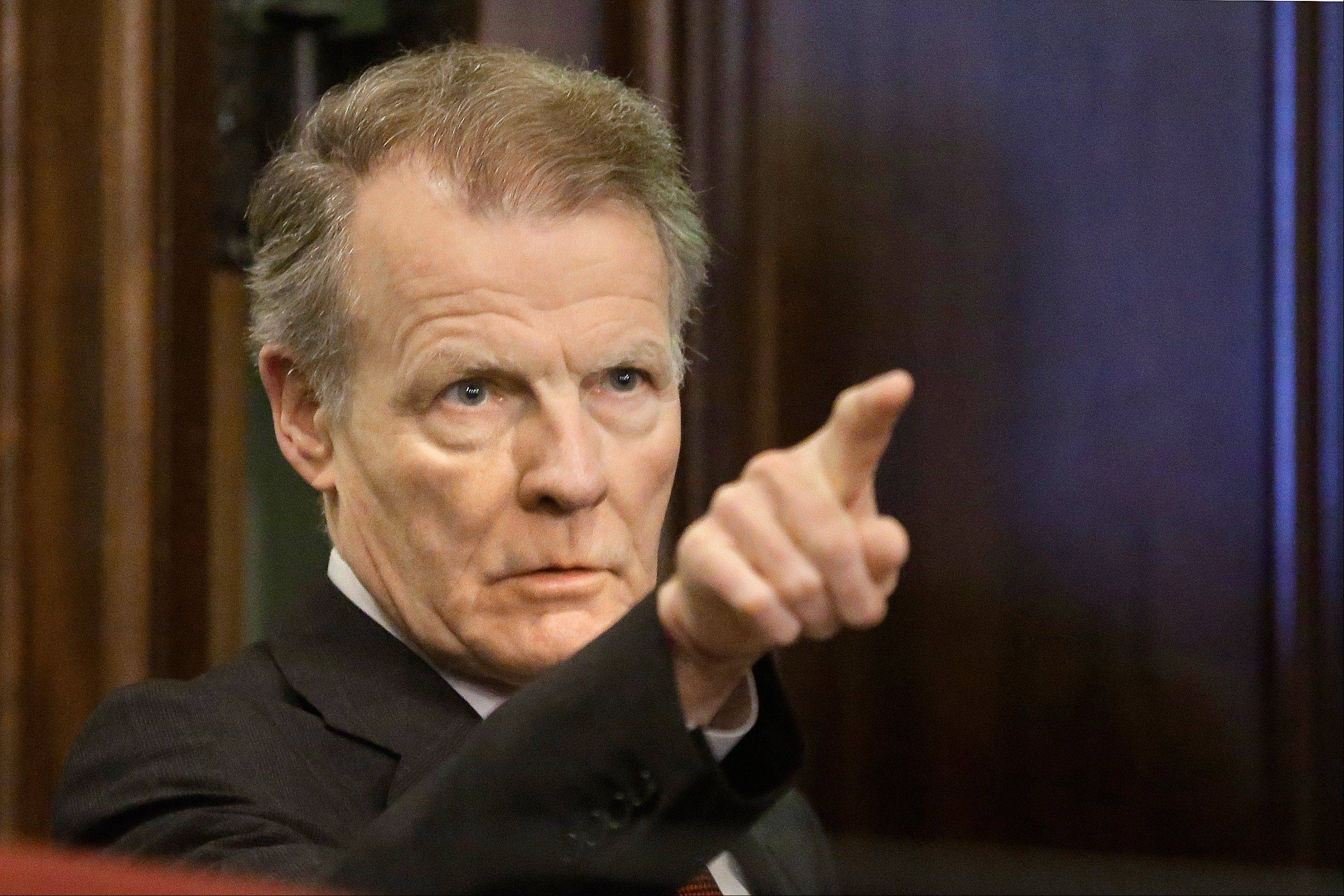 Illinois speaker of the House Michael Madigan of Chicago speaks to lawmakers during a Pension Committee hearing today at the Illinois State Capitol.