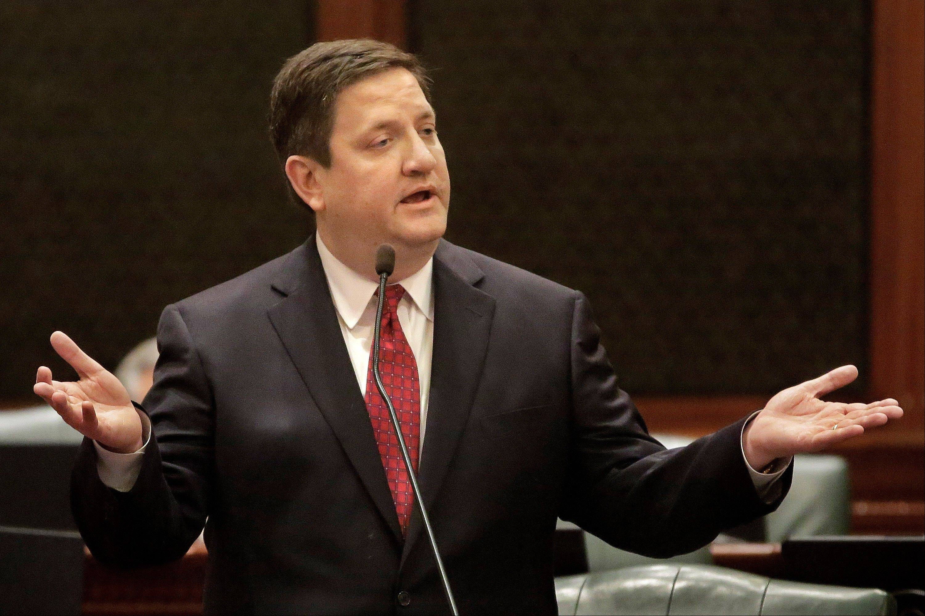 Illinois Rep. David McSweeney, R-Barrington Hills, argues pension legislation while on the House floor at the Illinois State Capitol Tuesday.