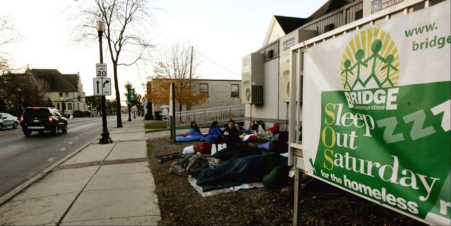 Sleep Out Saturday, occurring in the first weekend of November, is organized by Bridge Communities to raise awareness of homelessness in DuPage County and the programs it offers to help the homeless get back on their feet.