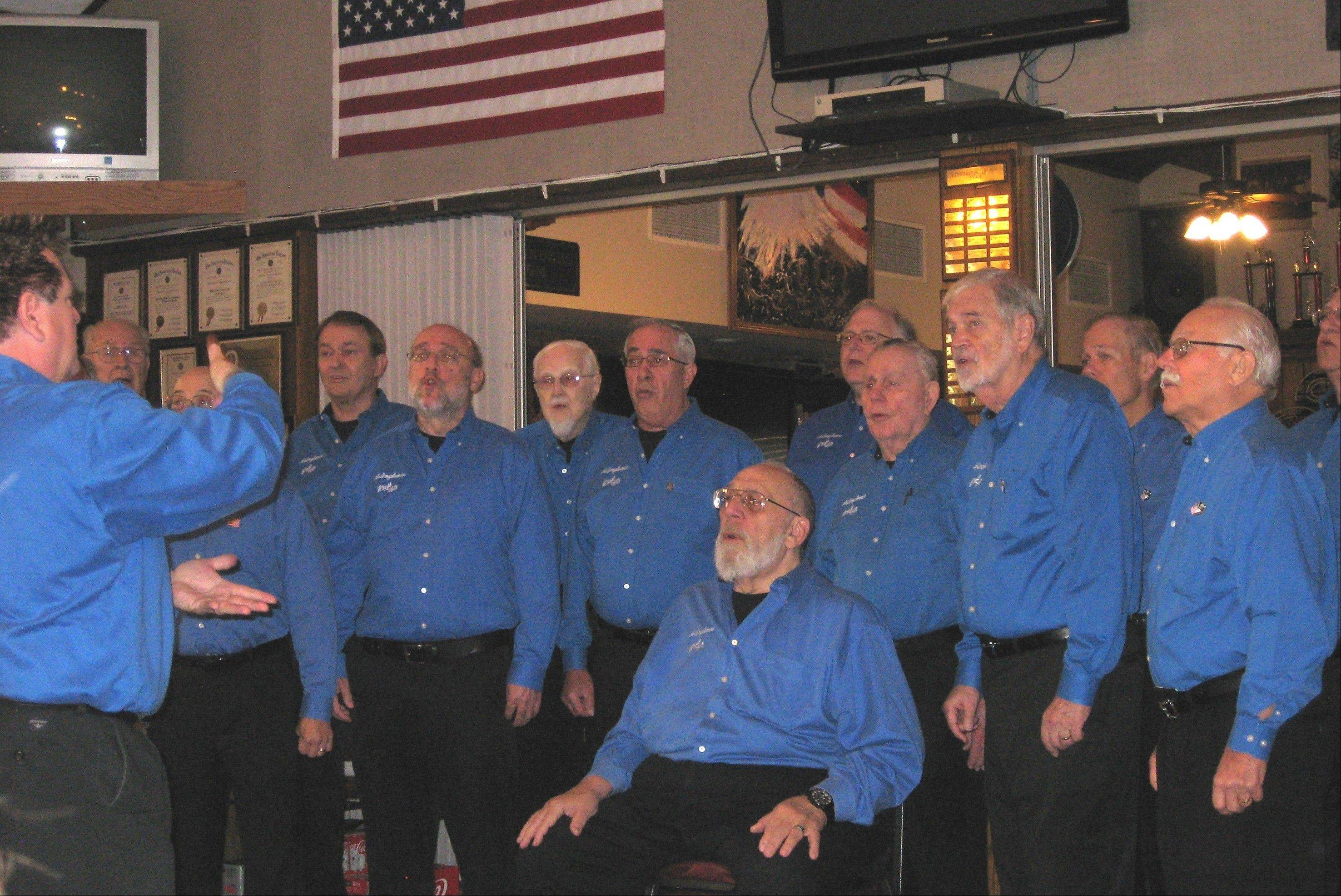 The Arlingtones entertain Naval recruits at the American Legion Post 208 on Thanksgiving.