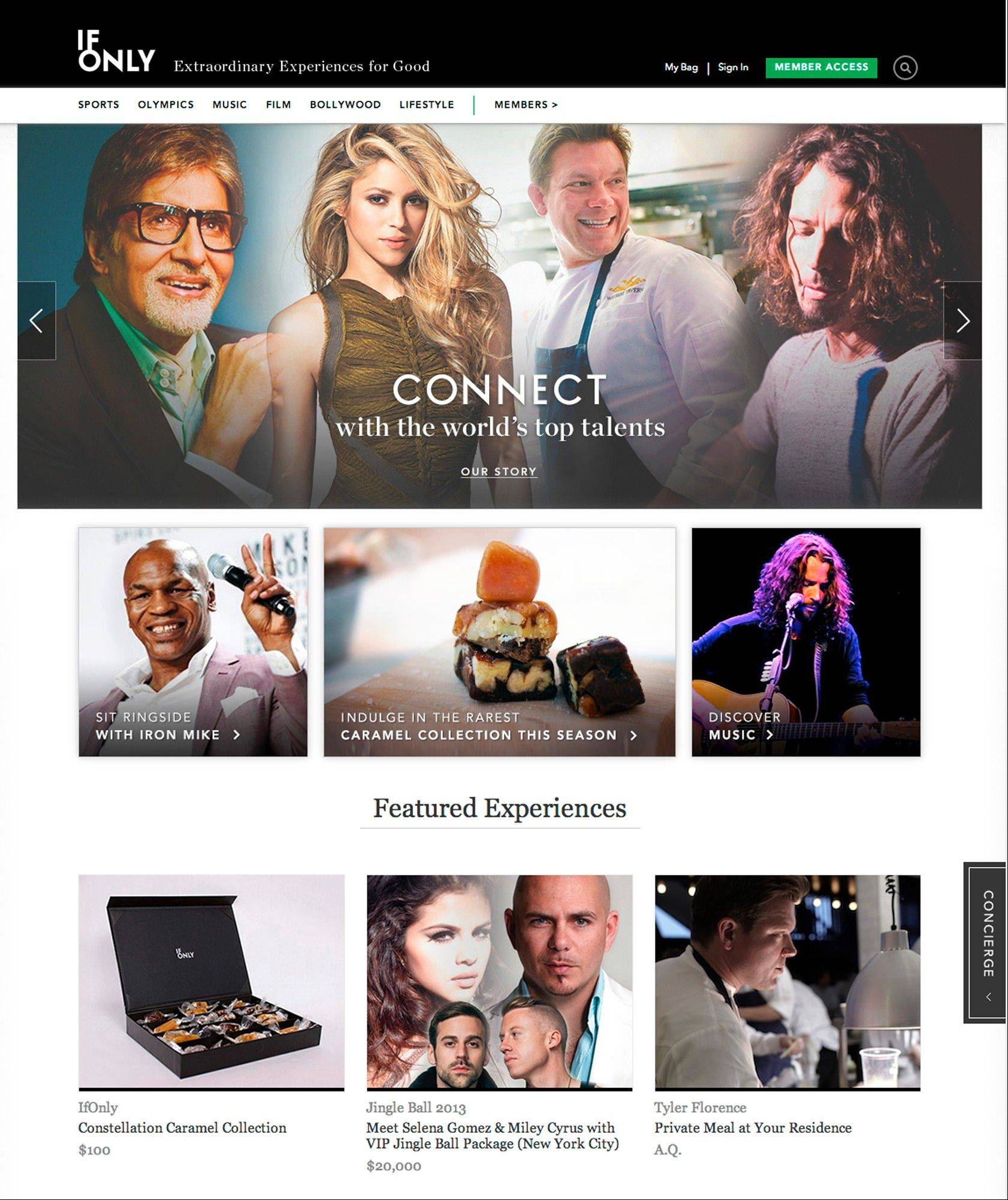 IfOnly.com is a website where you can buy encounters with stars in the culinary, sports and entertainment world, with part of the proceeds going to charity.