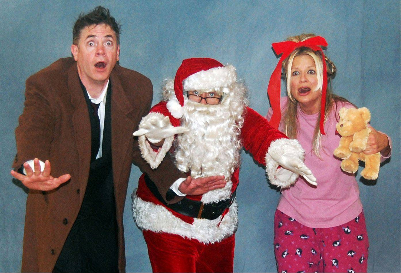 Geoffrey Maher, left, Marc Jolley and Debbi Dennison bring the lighter side of the holidays to life in Vex Theatre Company�s �Twist-a-Carol IV: Dr. Whoville.�