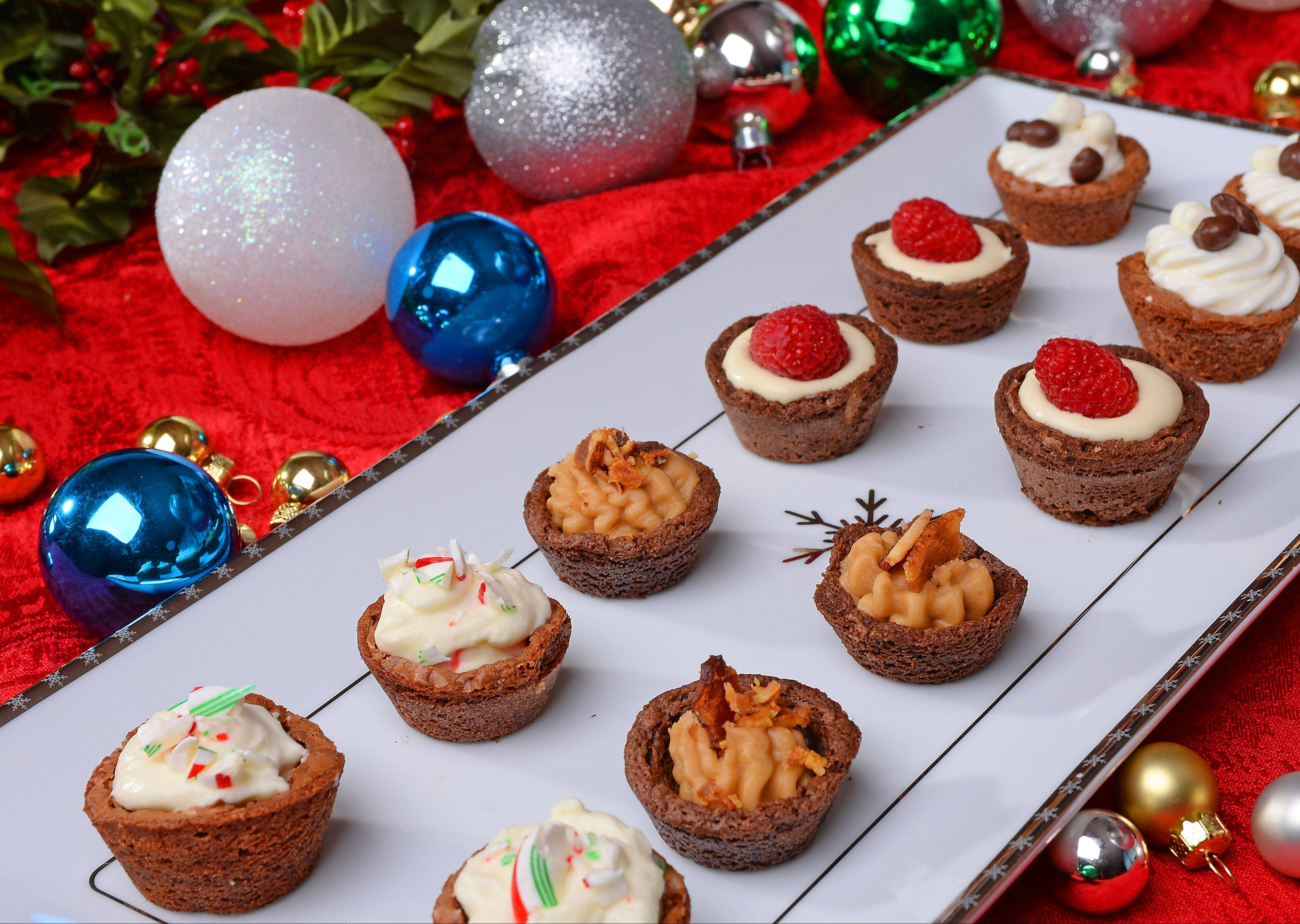 Festive and easy-to-make brownie bites add sparkle to holiday treat tables.