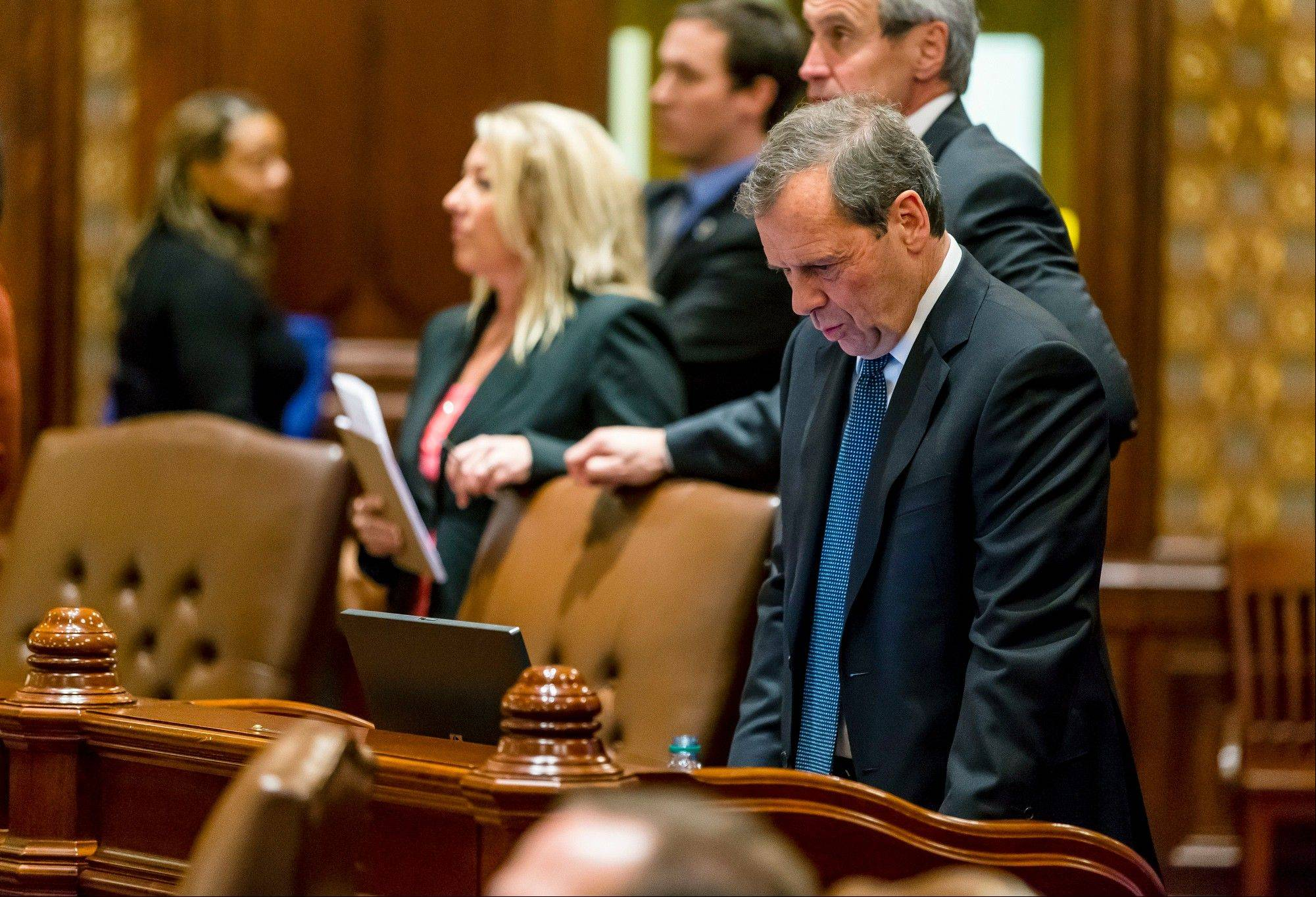 Illinois Senate President John Cullerton, a Chicago Democrat, reacted as voting began Tuesday on a bill to cut public pensions. Cullerton's backing was a breakthrough in getting 30-24 approval in the state Senate.