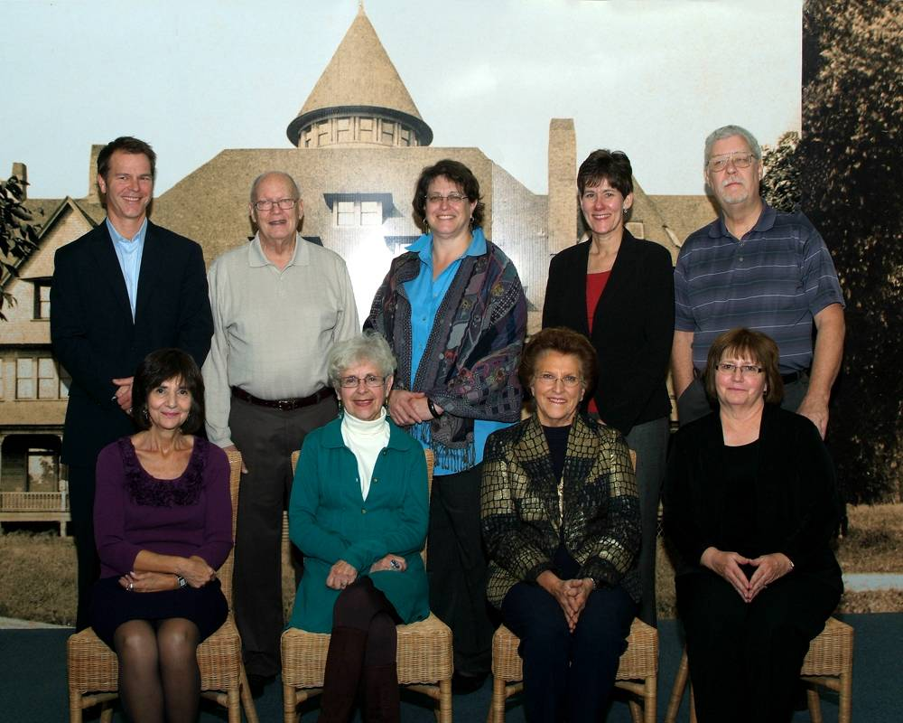 2013-2014 Board of Directors of the Glen Ellyn Historical Society are first row, left to right, Maria Boundas Bakalis, Jean Jeske, Ruth Wright, and Jan Shupert-Arick.  Second row, left to right are John Zemenak, Milton Cox, Suzanne Carty, Rose Southard and Al Lewek.