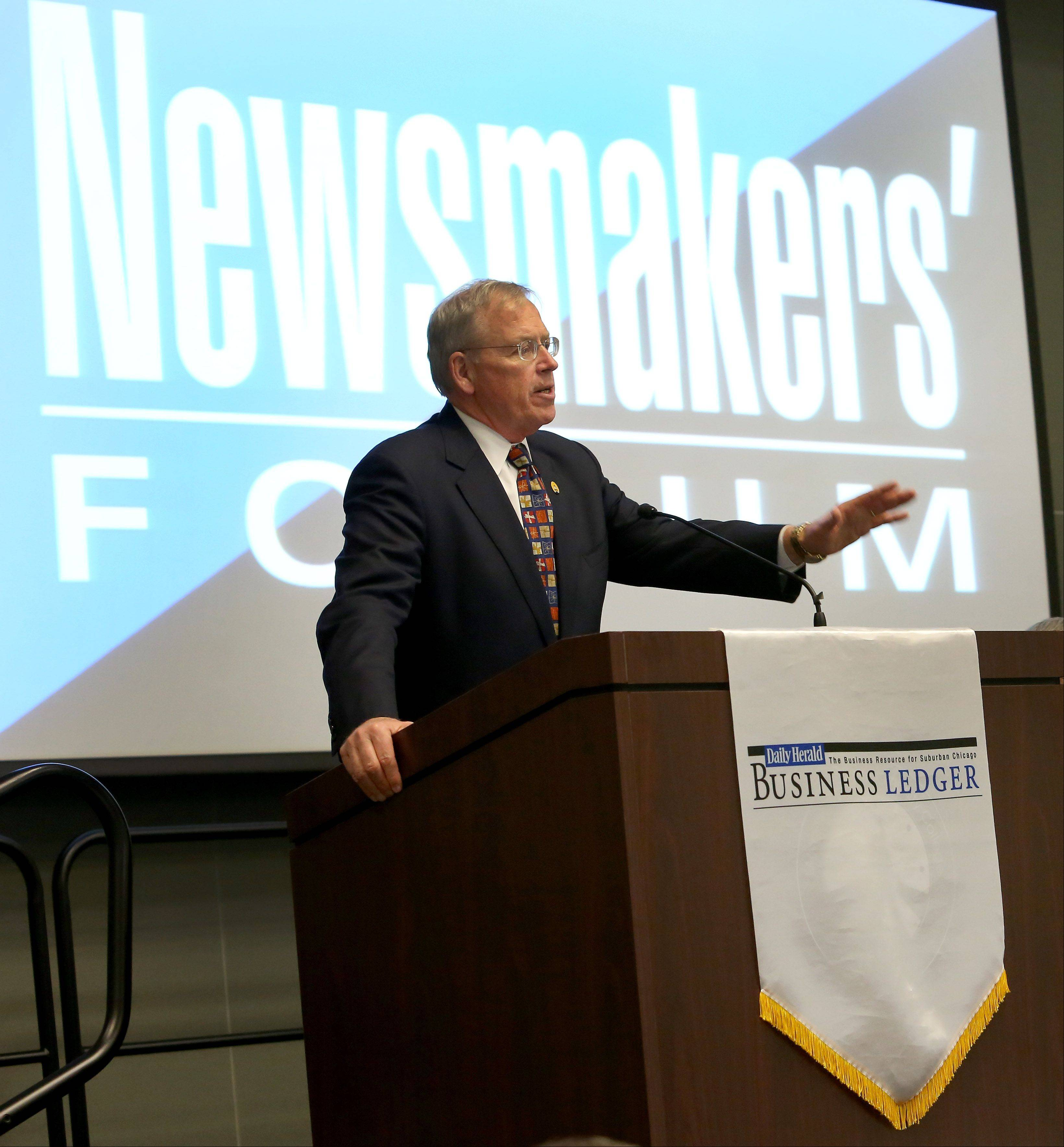 Douglas Whitley, president and CEO of the Illinois Chamber of Commerce, speaks at the Newsmakers� Forum at the Moraine Valley Community College in Palos Hills.