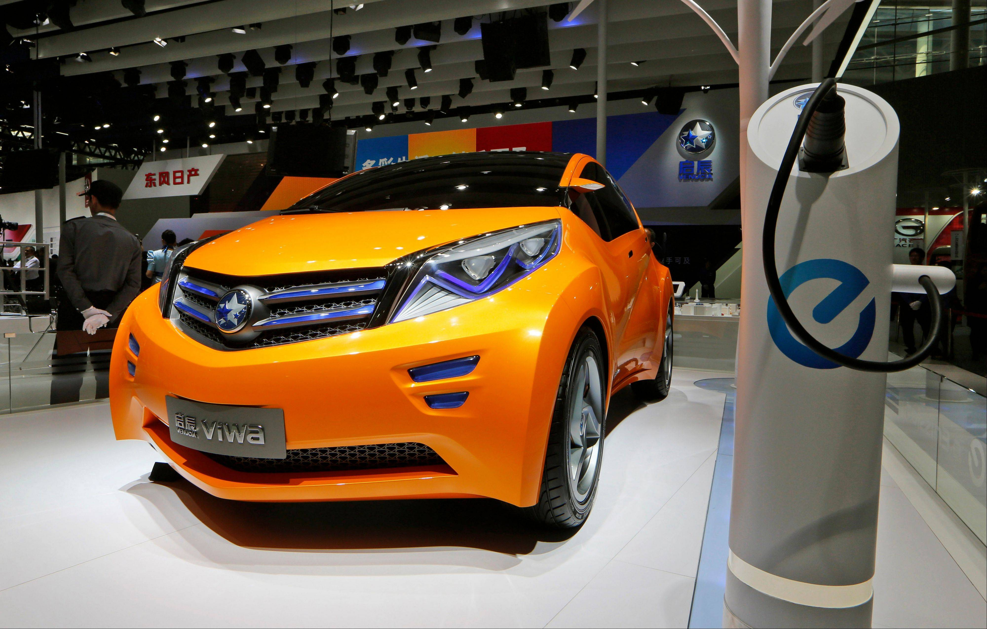 A Venucia Viwa EV concept car at the company�s booth during the Guangzhou Auto Show in China�s southern city of Guangzhou.