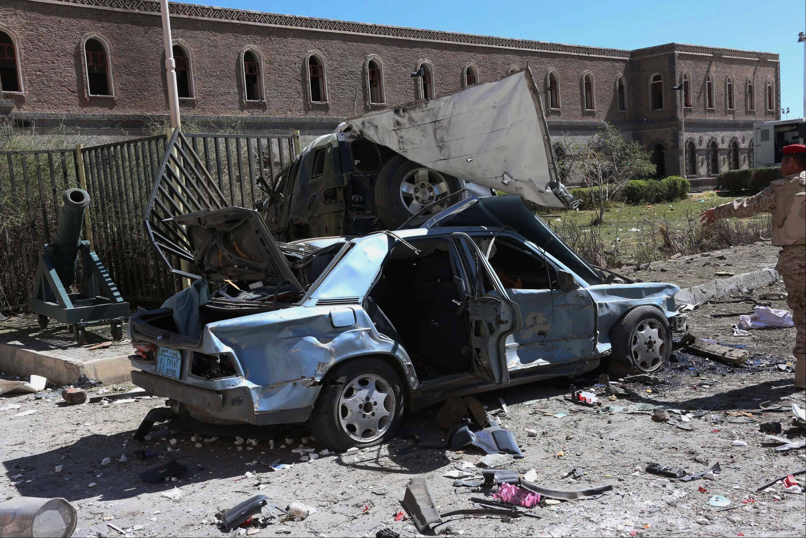 A suicide bomber detonated his explosives-laden car Thursday at Yemen�s Defense Ministry, killing more than a dozen soldiers and wounding at least 40 in an attack underlining the persistent threat to the stability and security of the impoverished Arab nation, military and hospital officials said.