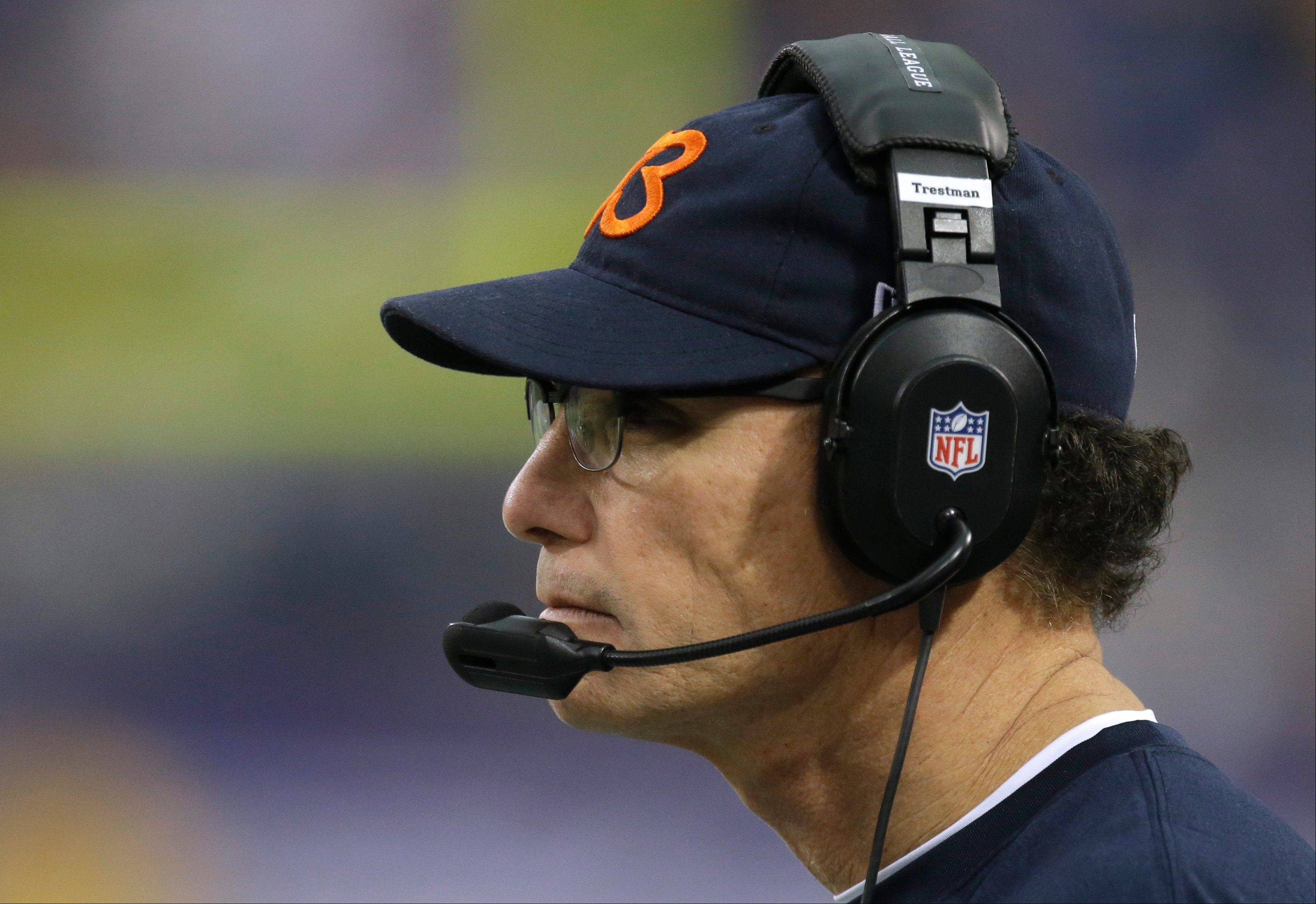 Chicago Bears head coach Marc Trestman looks on during the second half of an NFL football game against the Minnesota Vikings, Sunday, Dec. 1, 2013, in Minneapolis. (AP Photo/Jim Mone)