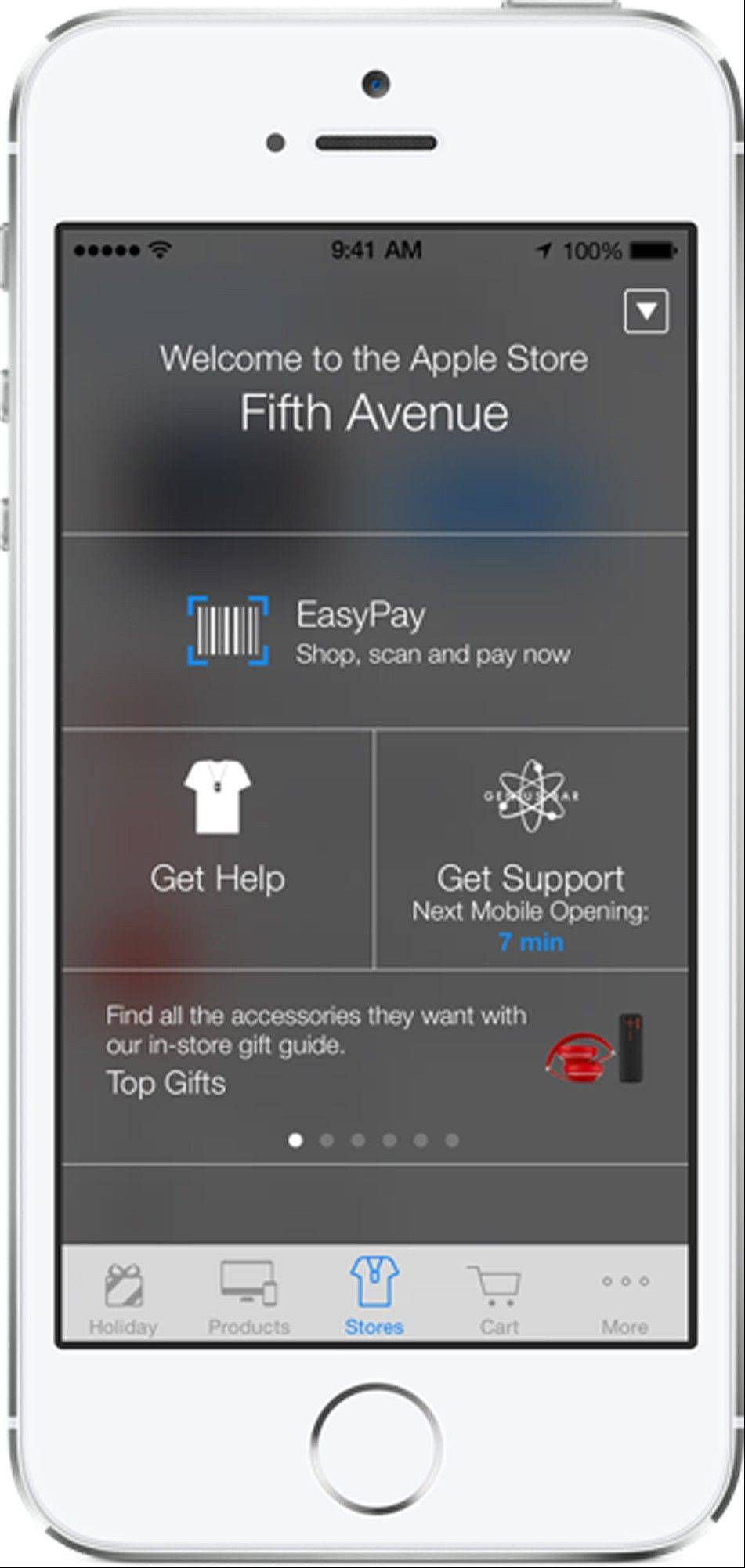 The screen on an iPhone using Apple�s iBeacon, offering precise location technology.