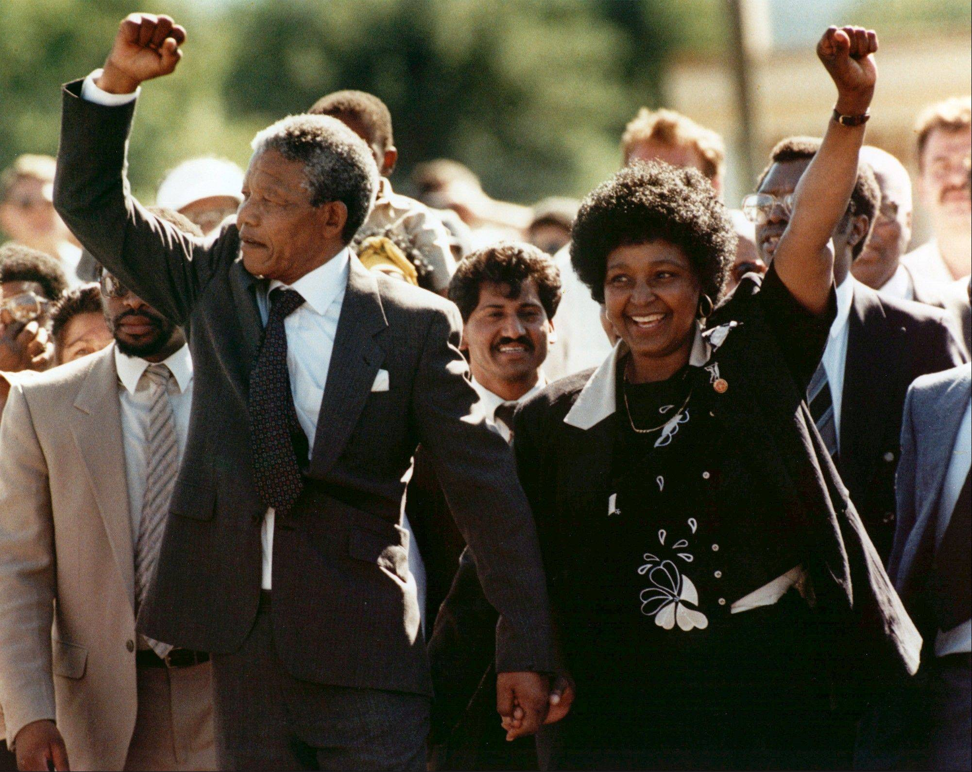 Associated Press/Feb. 11, 1990 Nelson Mandela and his wife, Winnie, raise clenched fists as they walk hand-in-hand upon his release from prison in Cape Town, South Africa.